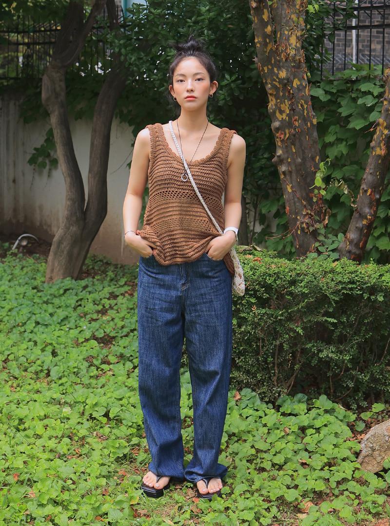 5-Pocket Wide-Leg Long Jeans