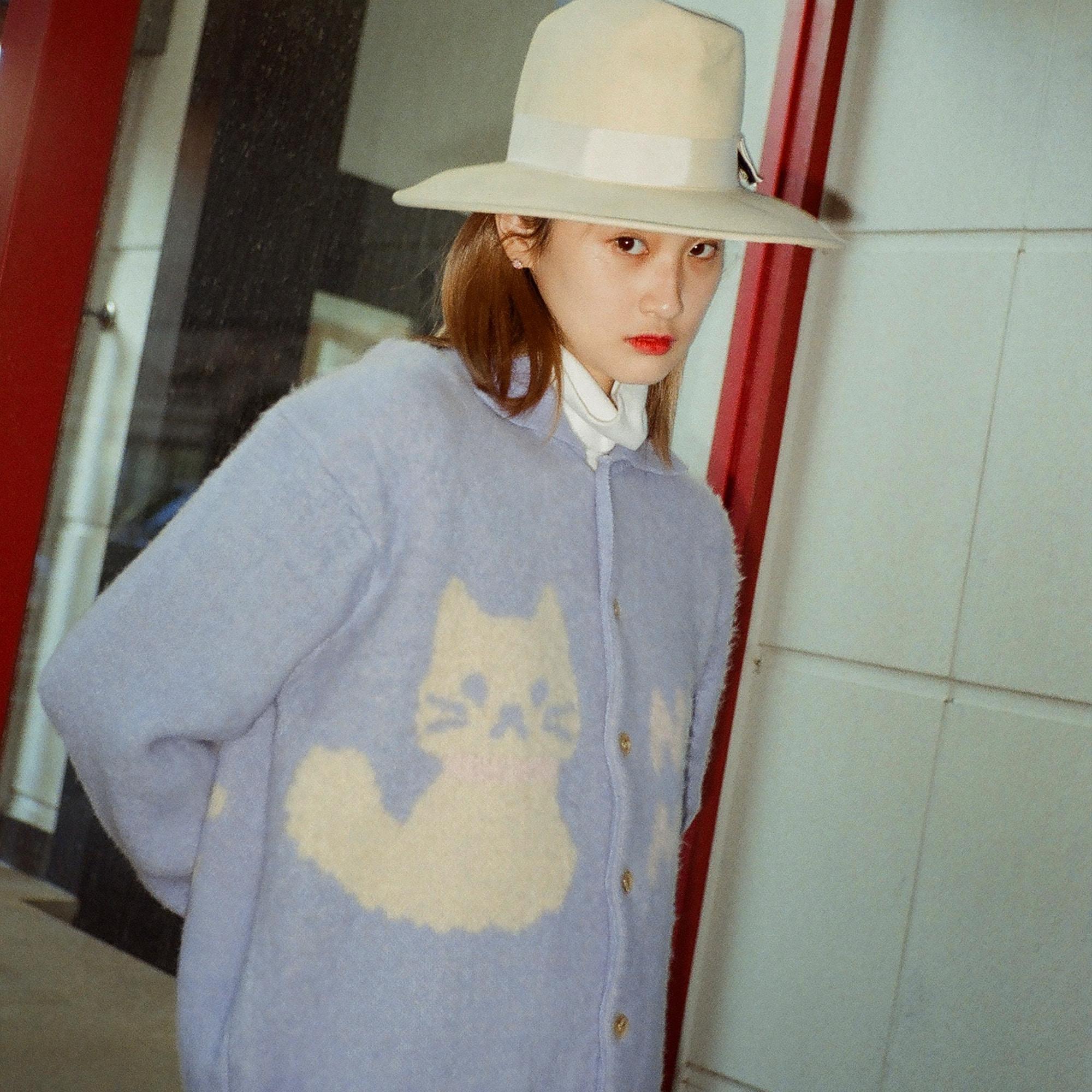 Cat Knit Cardigan (Baby Blue)
