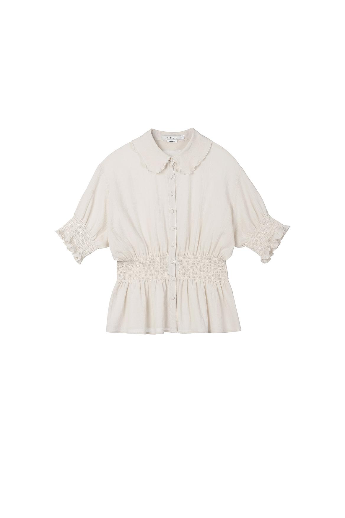 Smocked Short-sleeved Blouse