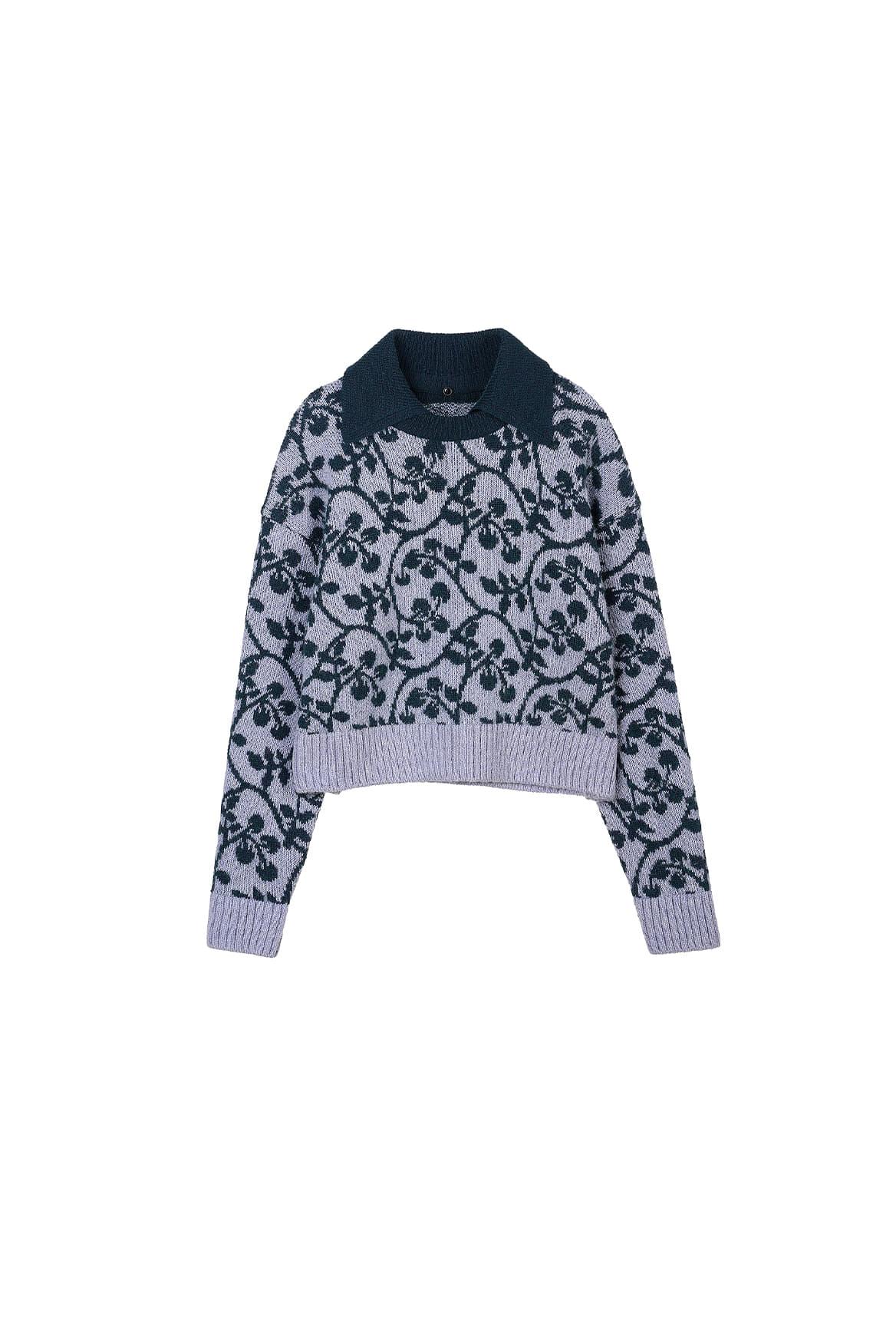 Lierre Detachable Collar Sweater_Purple Heather