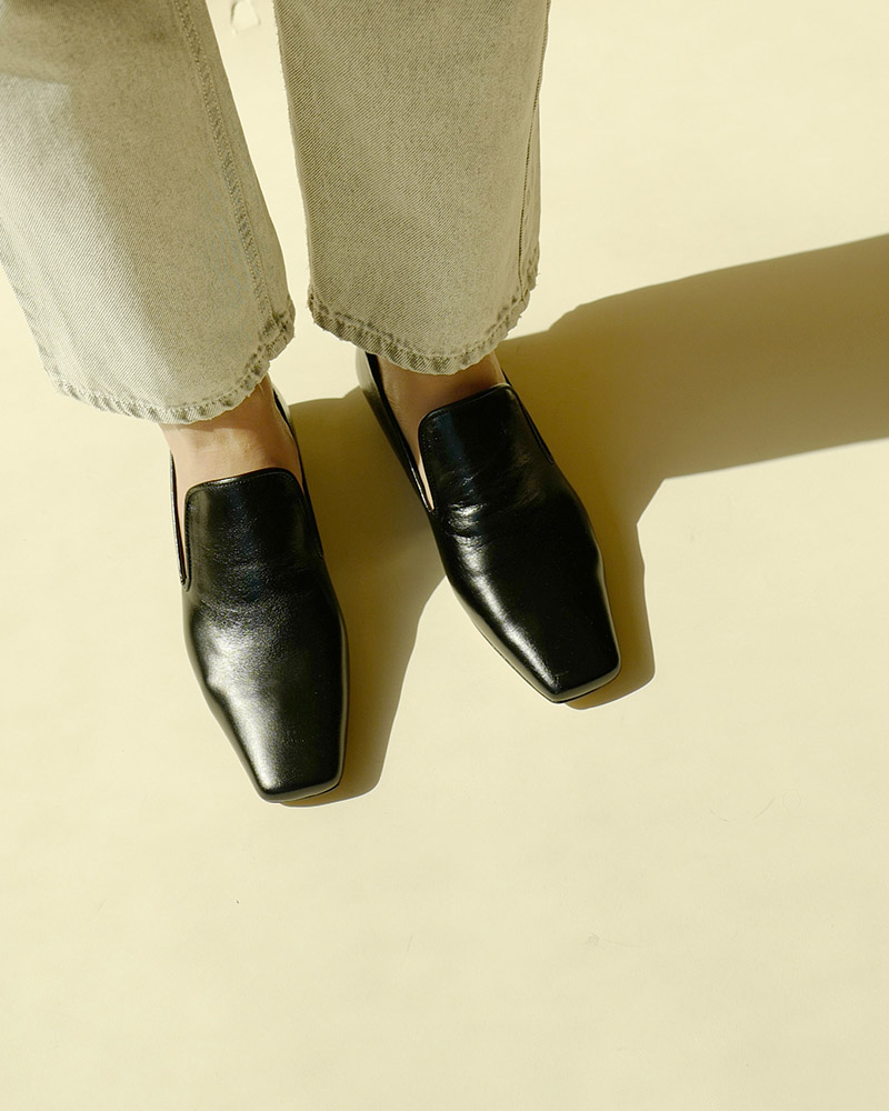 Abel Slip-on Loafers in Textured Black