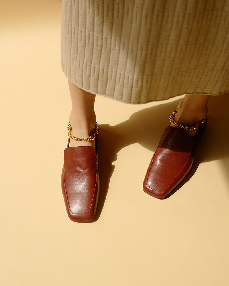 Claus Anklet Slip on Loafers in Barn Brown