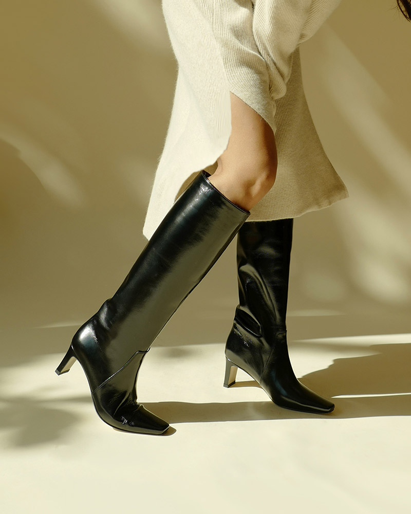 Kate Boots in Black Textured Patent