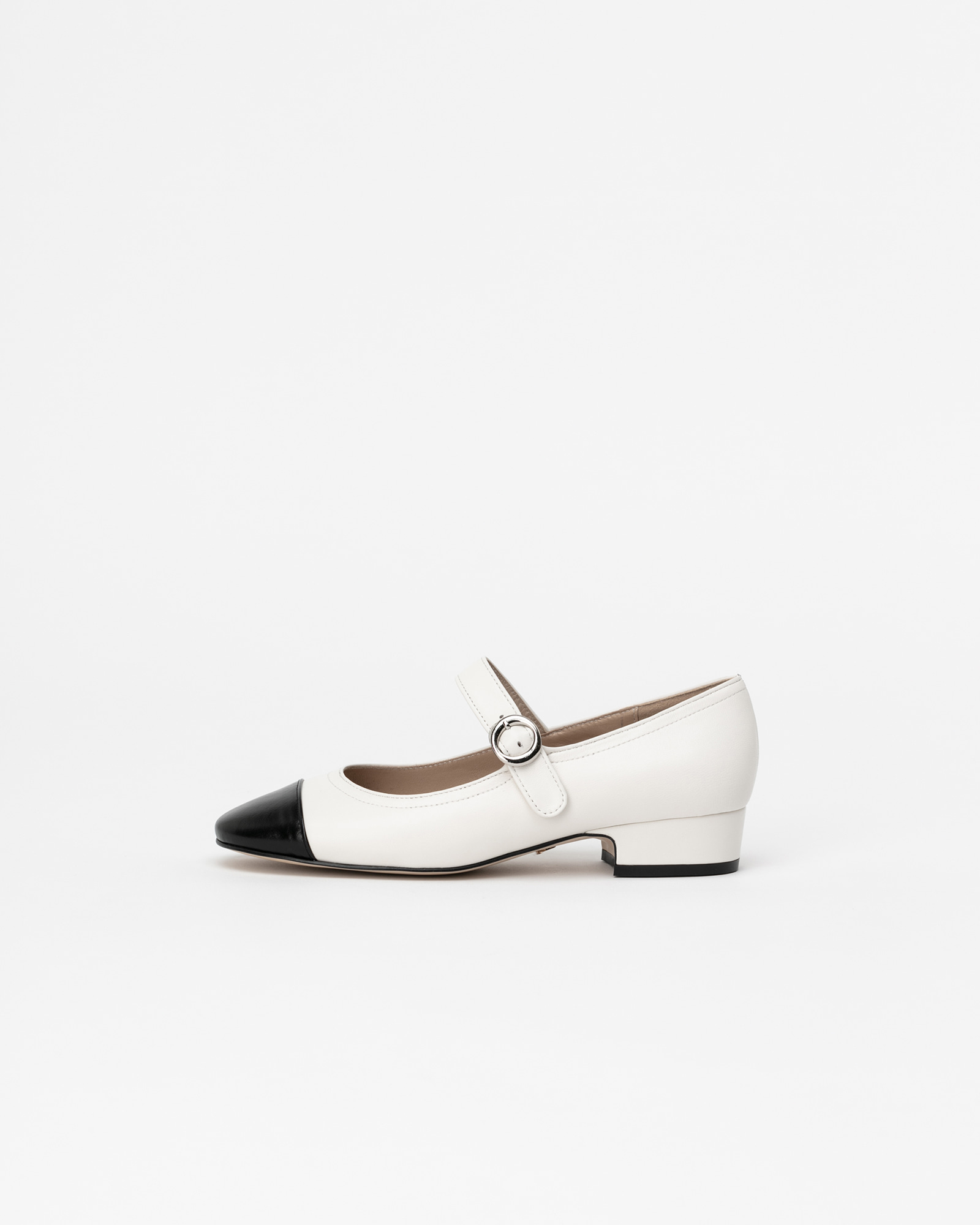 Fatele Maryjane Shoes in White with Black Toe