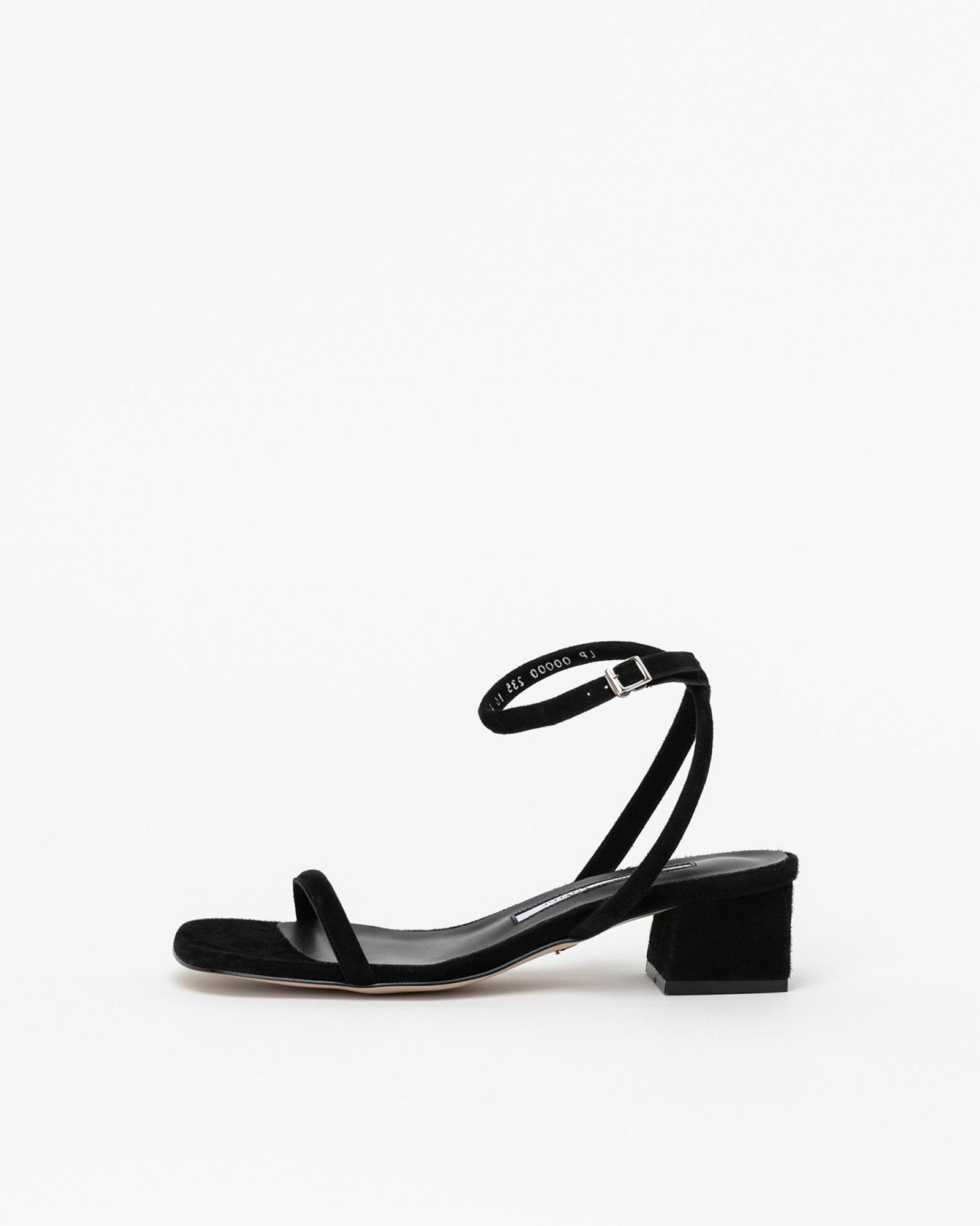 Audette Strap Sandals in Black Suede