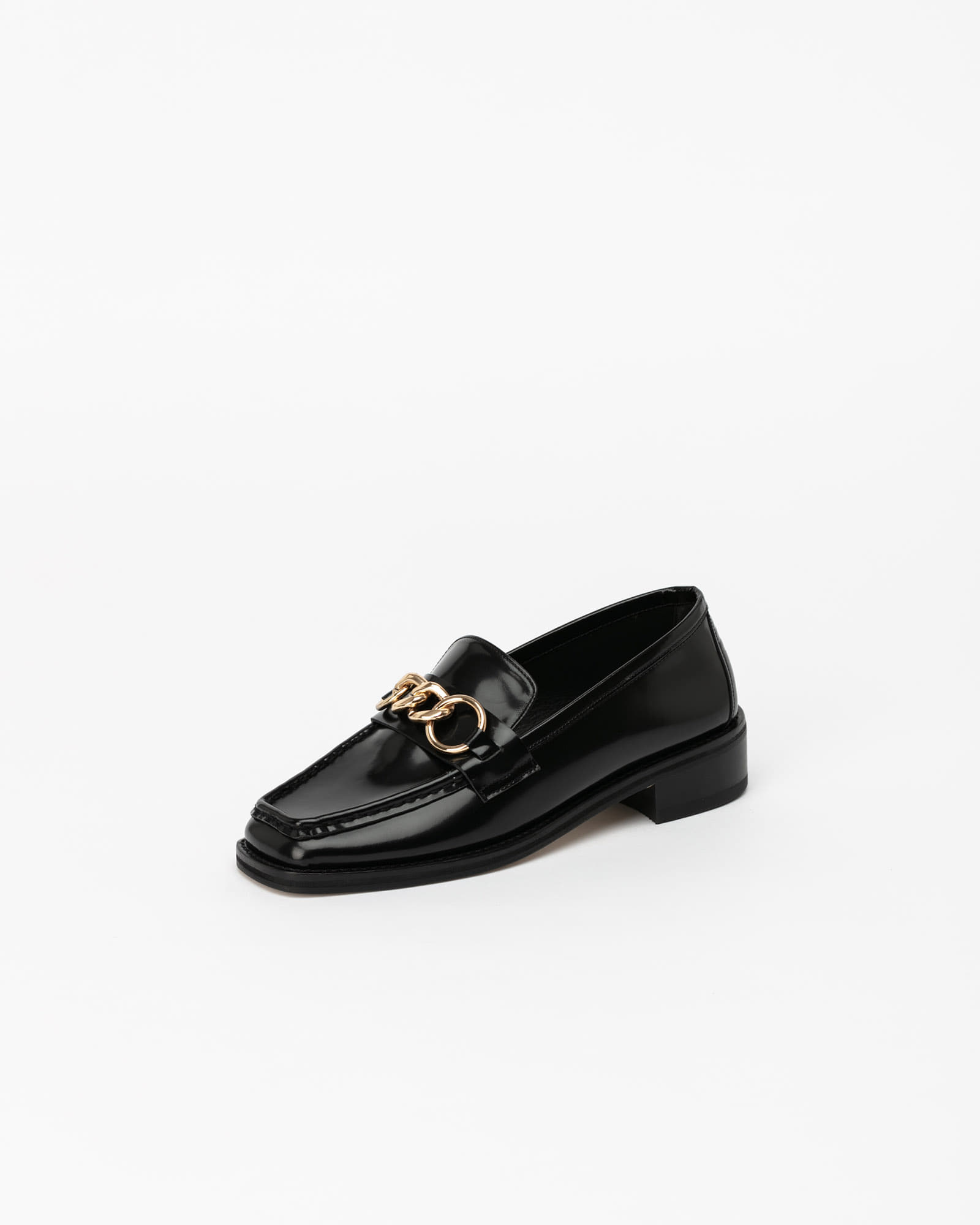 Greta Chained Soft Loafers in Black Box