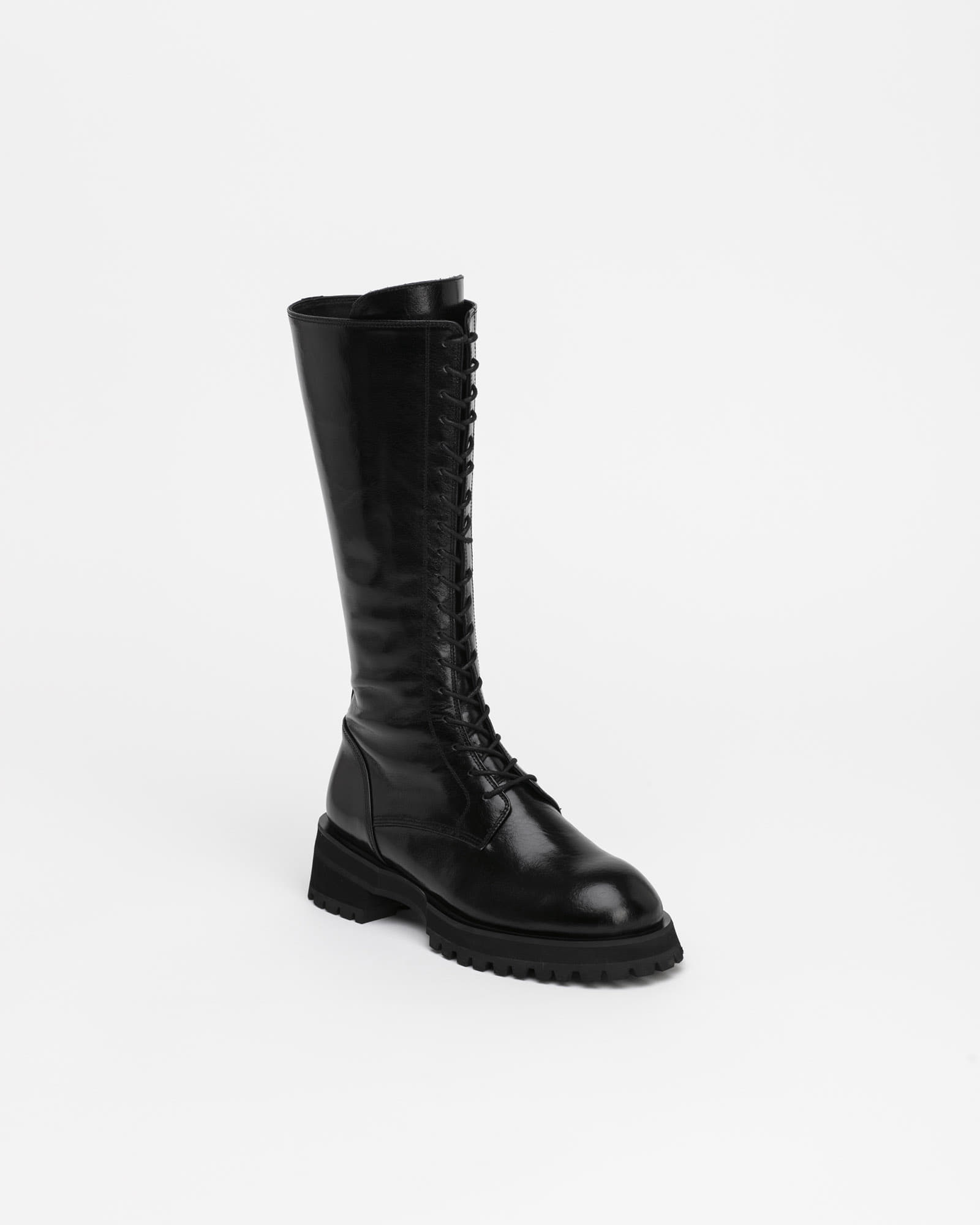 Apost Long Lace-up Boots in Textured Black