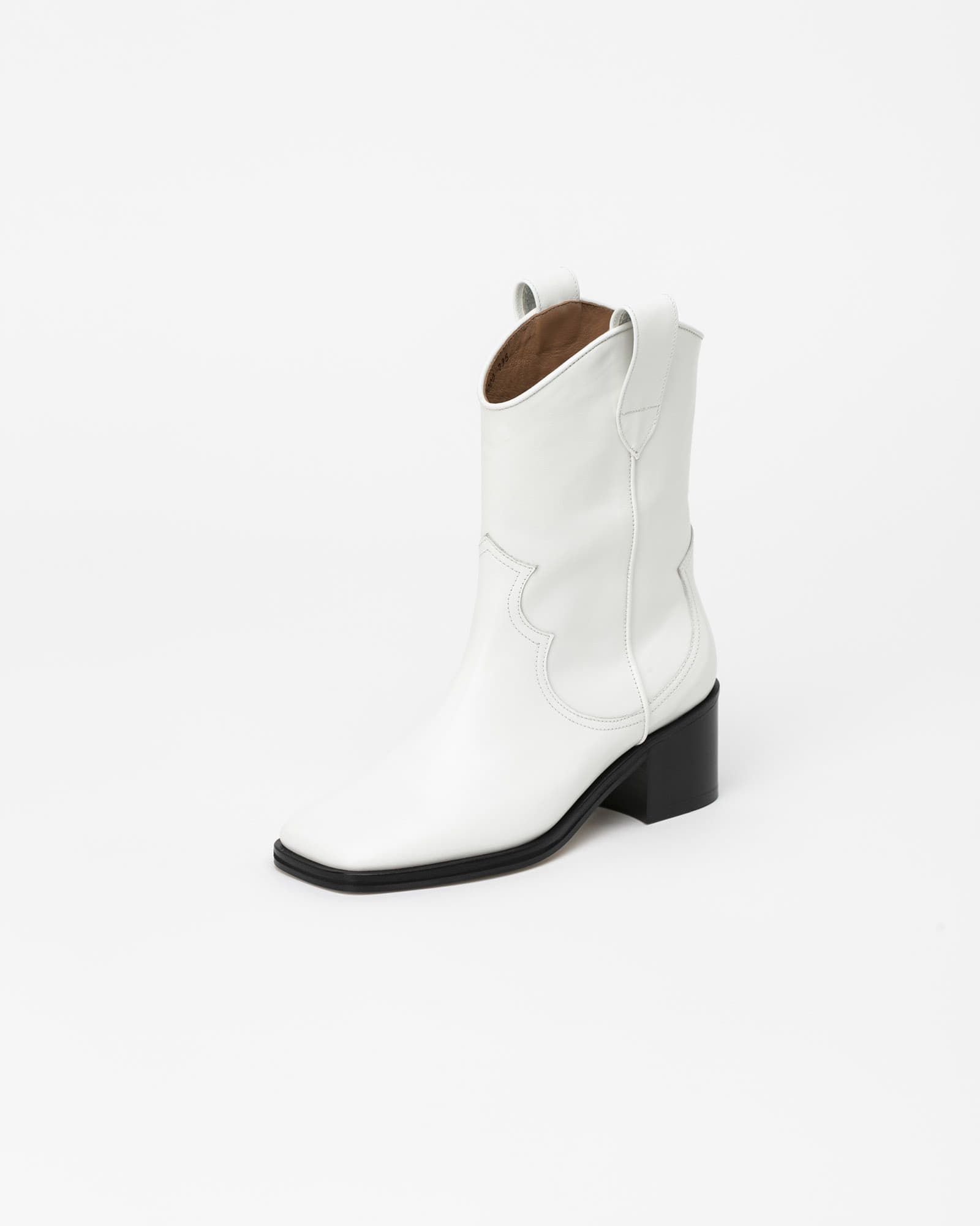 Elceta Square Toe Cowboy Boots in Pure White