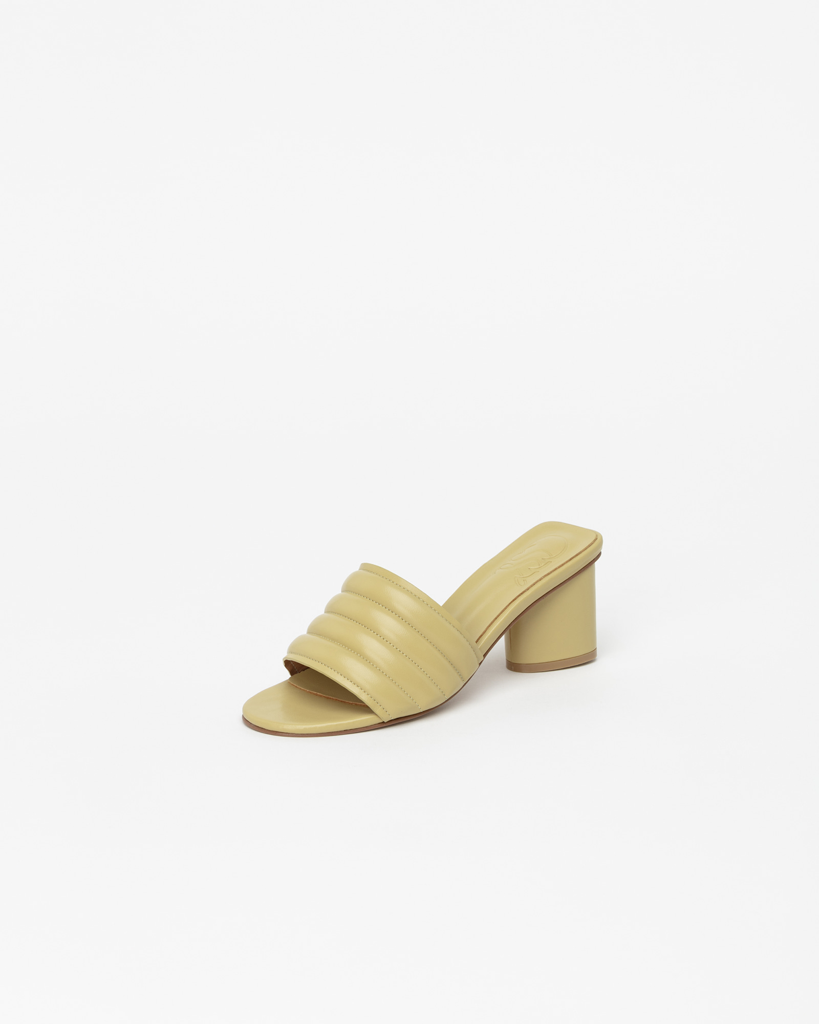 Alia Padded Mules in Linelight Yellow
