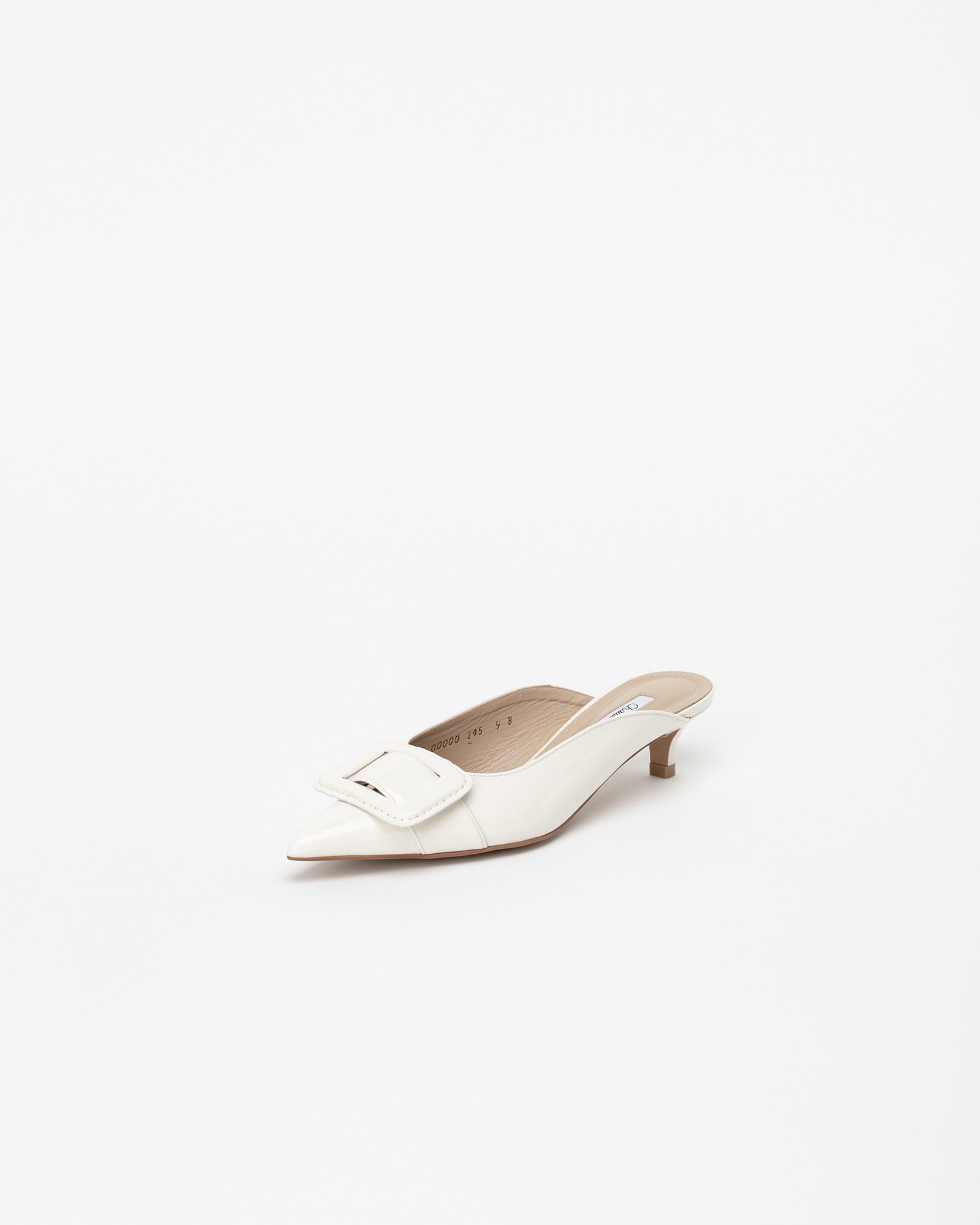 Shanon Mules in Milky White Patent