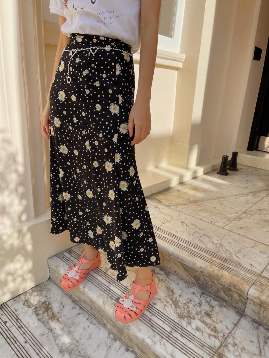 [34% SALE] Flower mermaid skirt [Black]