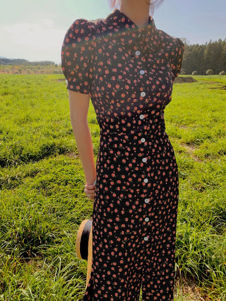 [30% SALE] Adelaide floral dress [Black]
