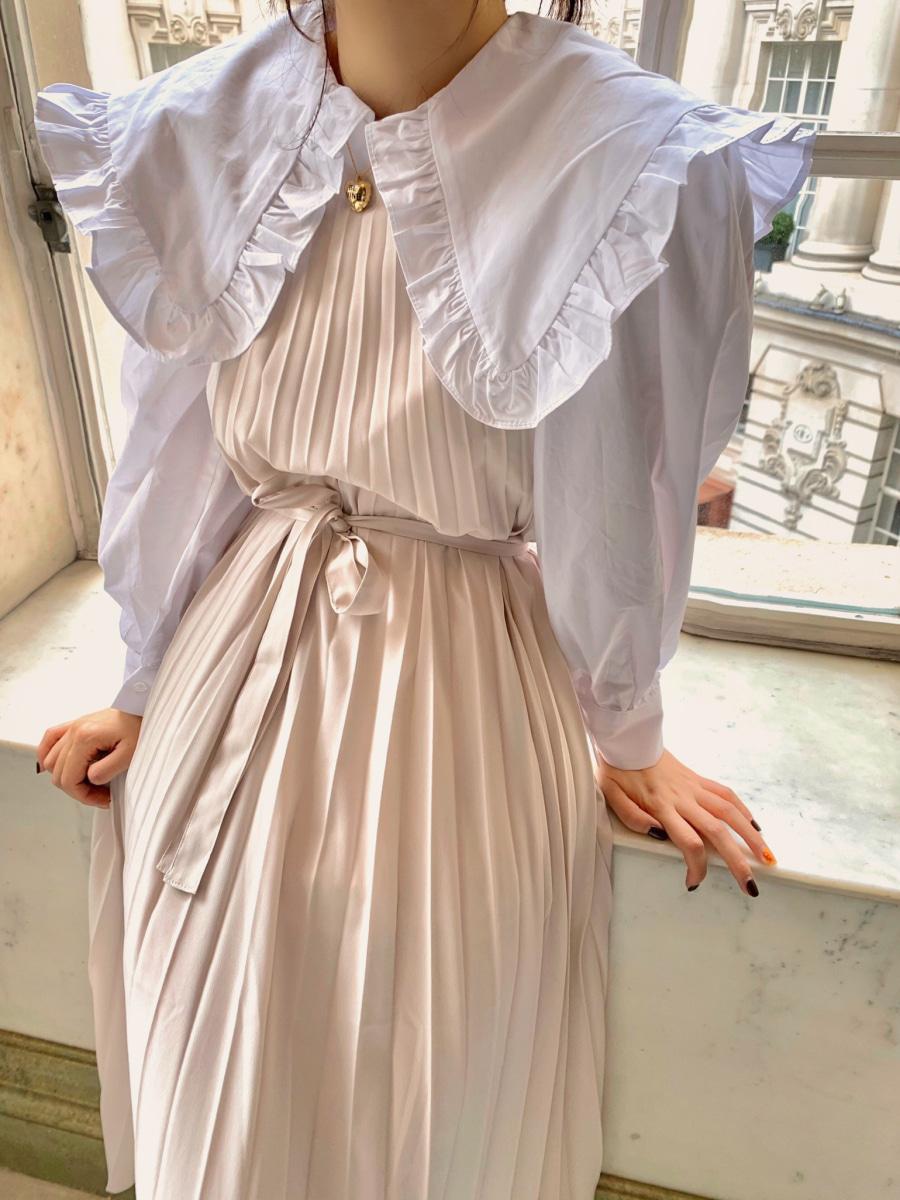 Waist ribbon pleats dress [Cream]