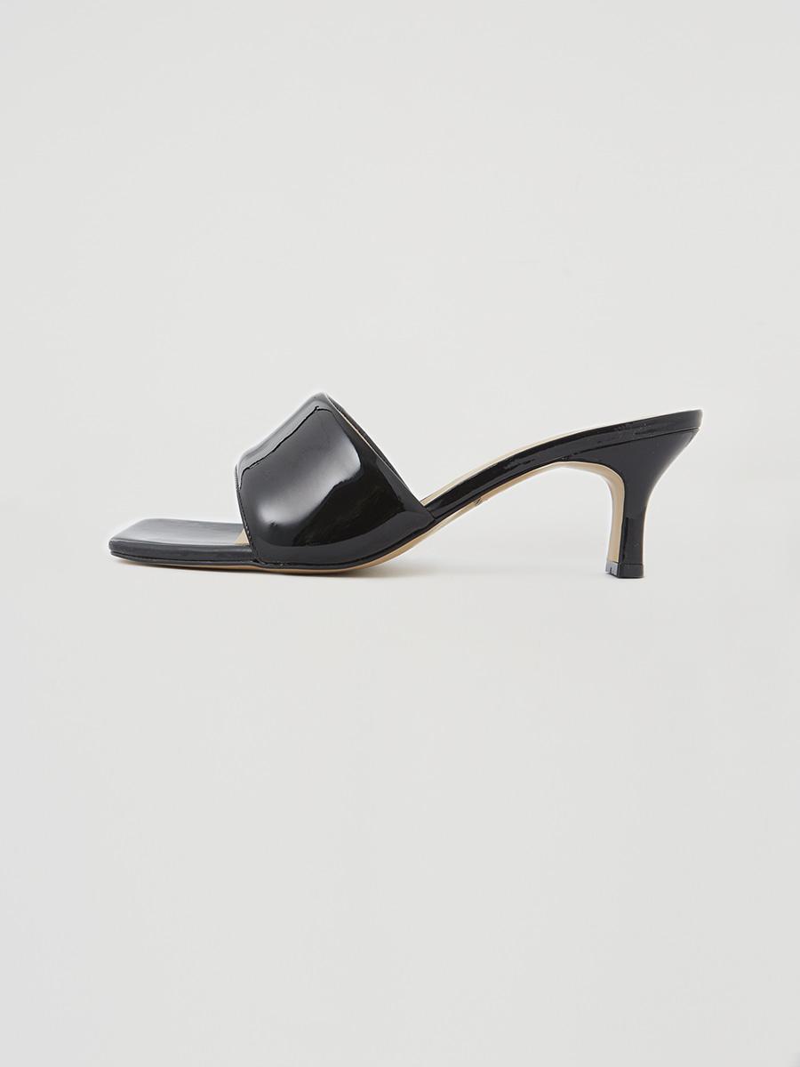 [Pre-order] [6cm] Patent Open Toe Mule [black]