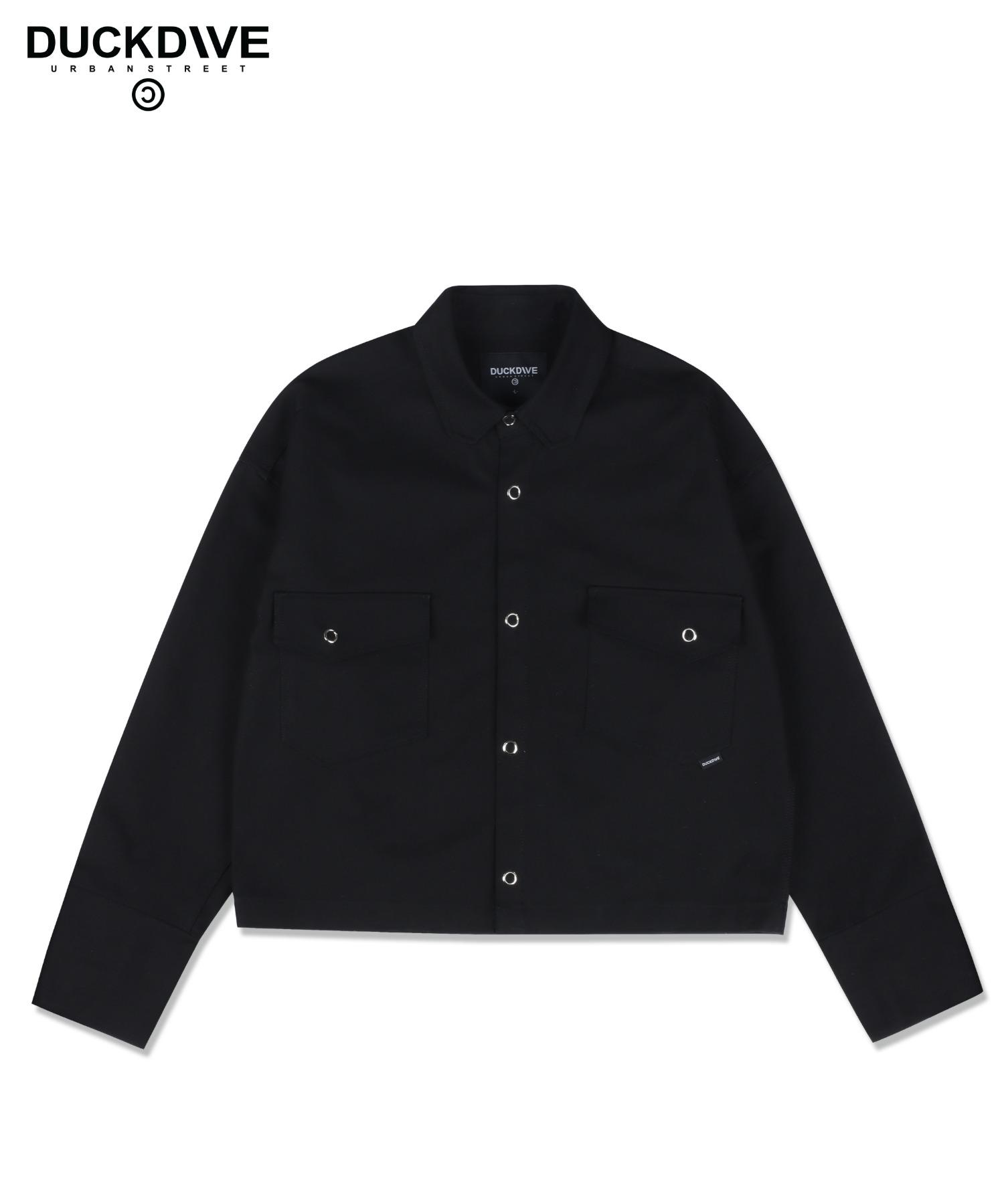 스퀘어카라 크롭 셔츠자켓 블랙