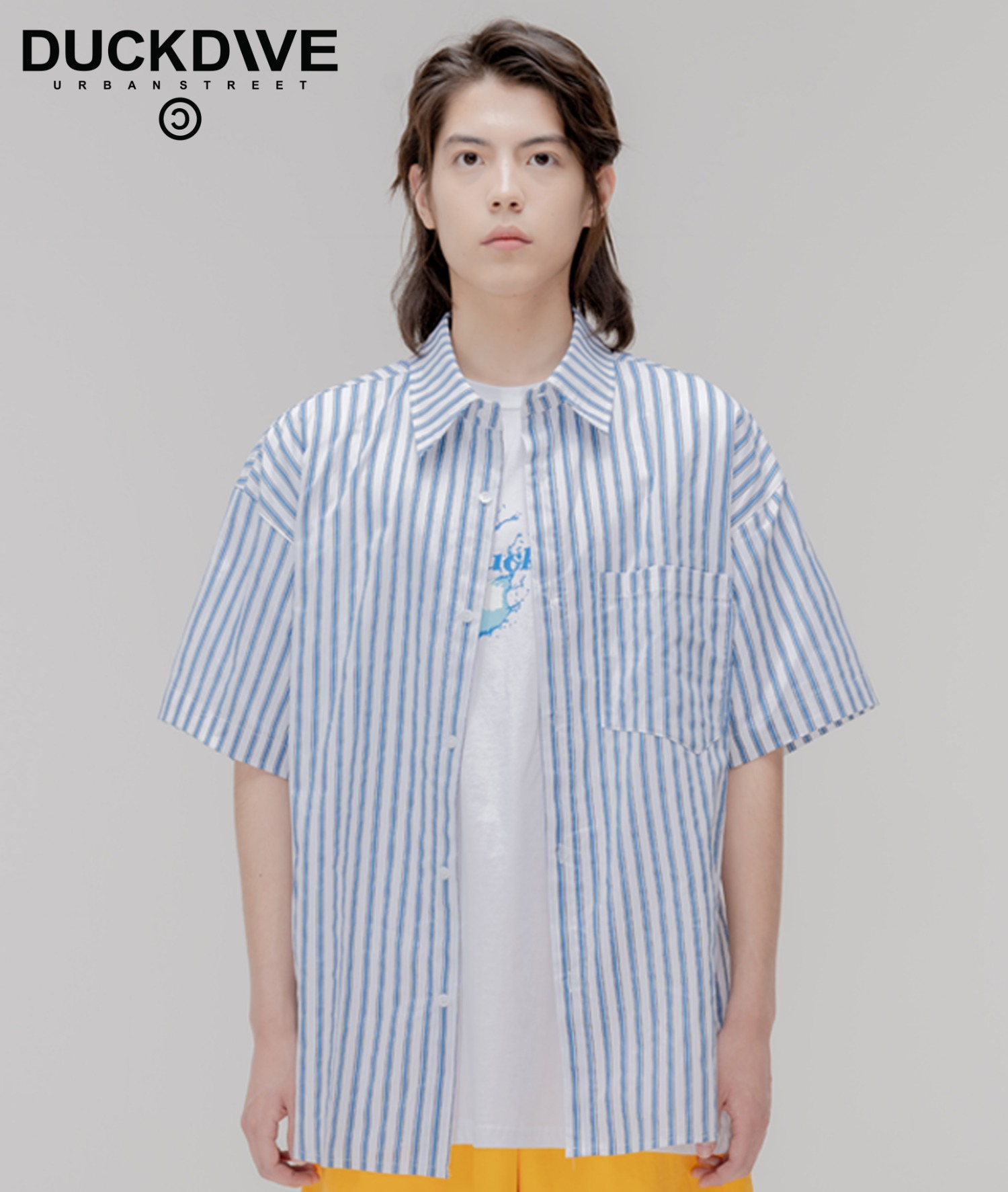 STRIPE OVER HARF SHIRTS BLUE