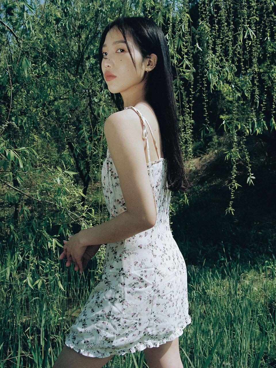 Frill mini dress (flower)