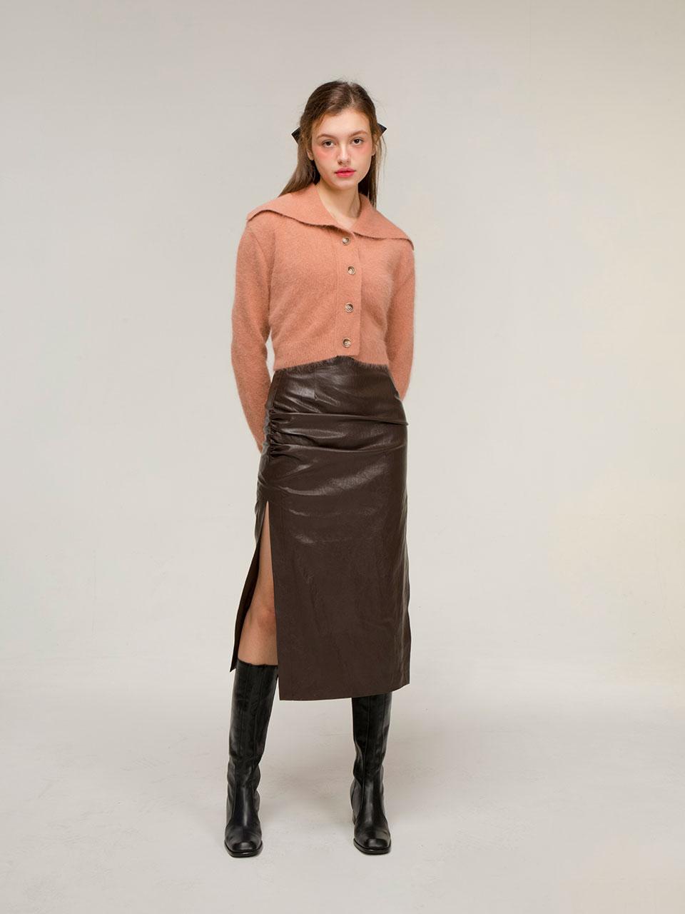 Drape leather skirt (brown)