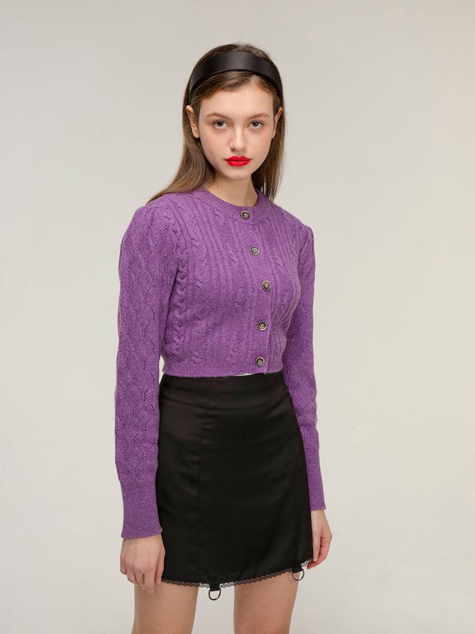 Puff wool cable cardigan (purple)
