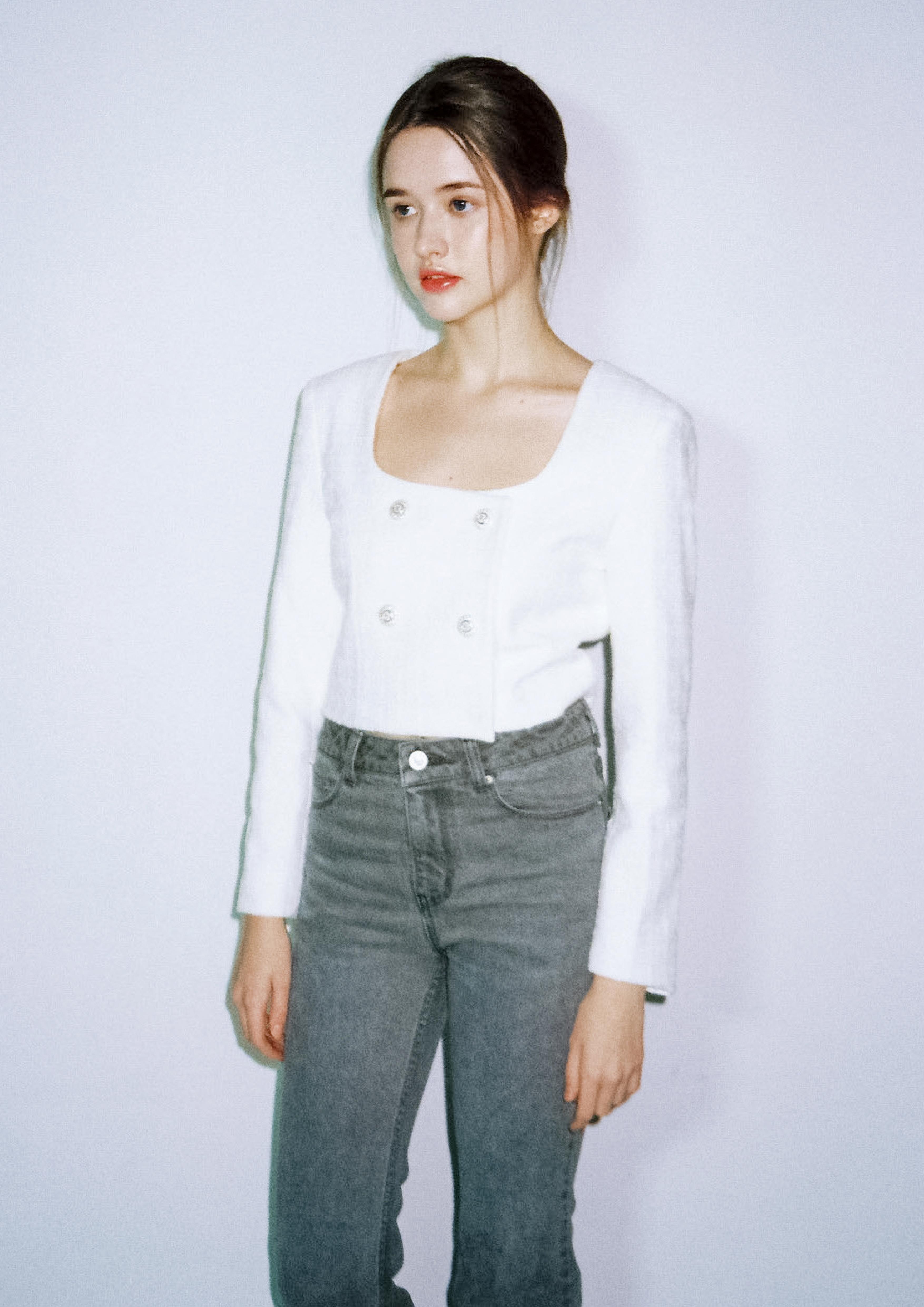 Tweed crop jacket (white)