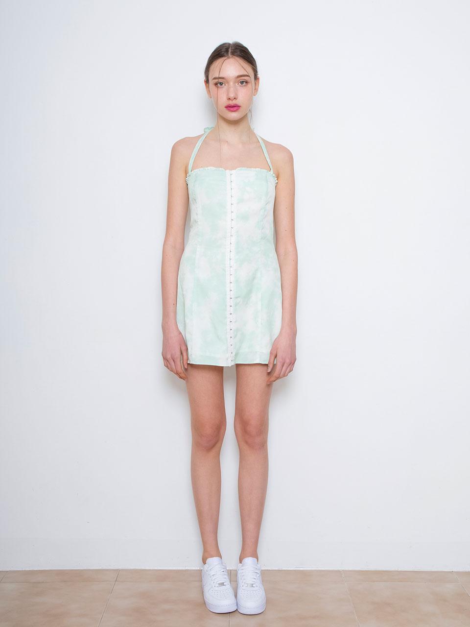 Bustier halter dress (green)