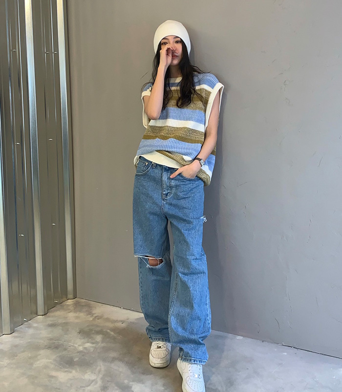 Side cutting pants (2color)