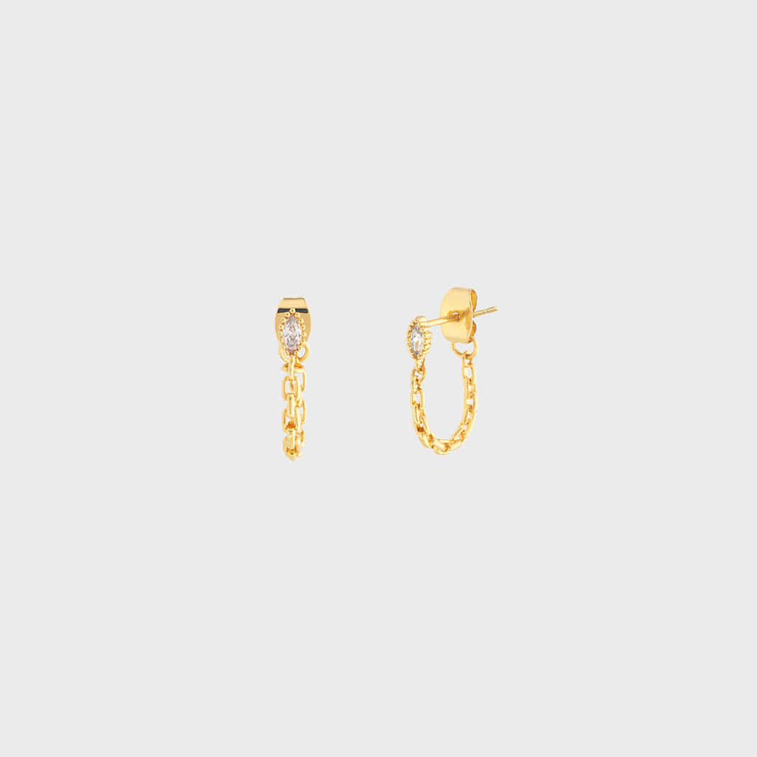 OVAL CONNECT EARRING IN GOLD