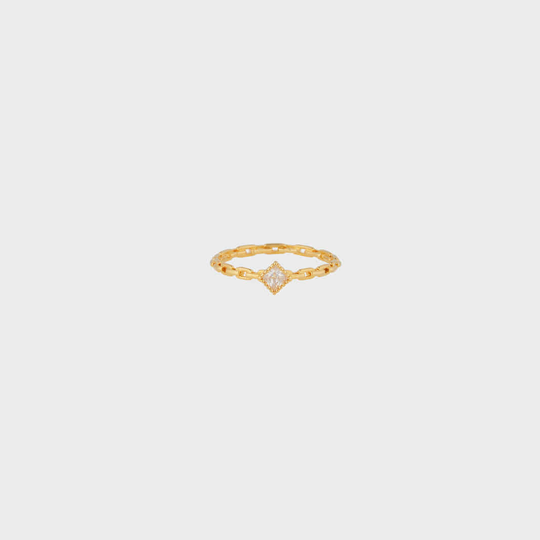 SQUARE CONNECT RING IN GOLD