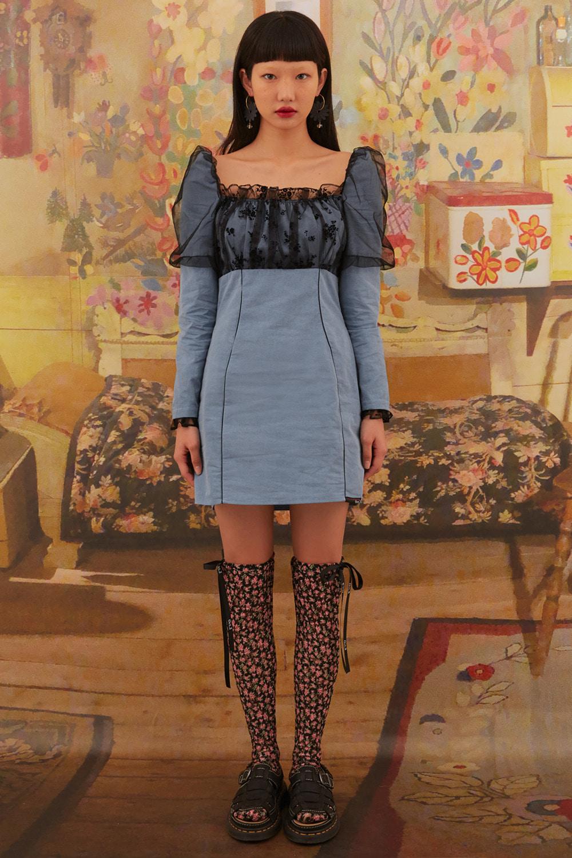 Mesh Shirred Puff Sleeve Dress [Blue-Black]