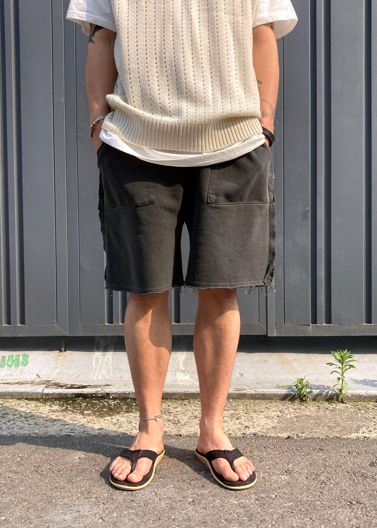 Cutting Dying Half Shorts (2Color)