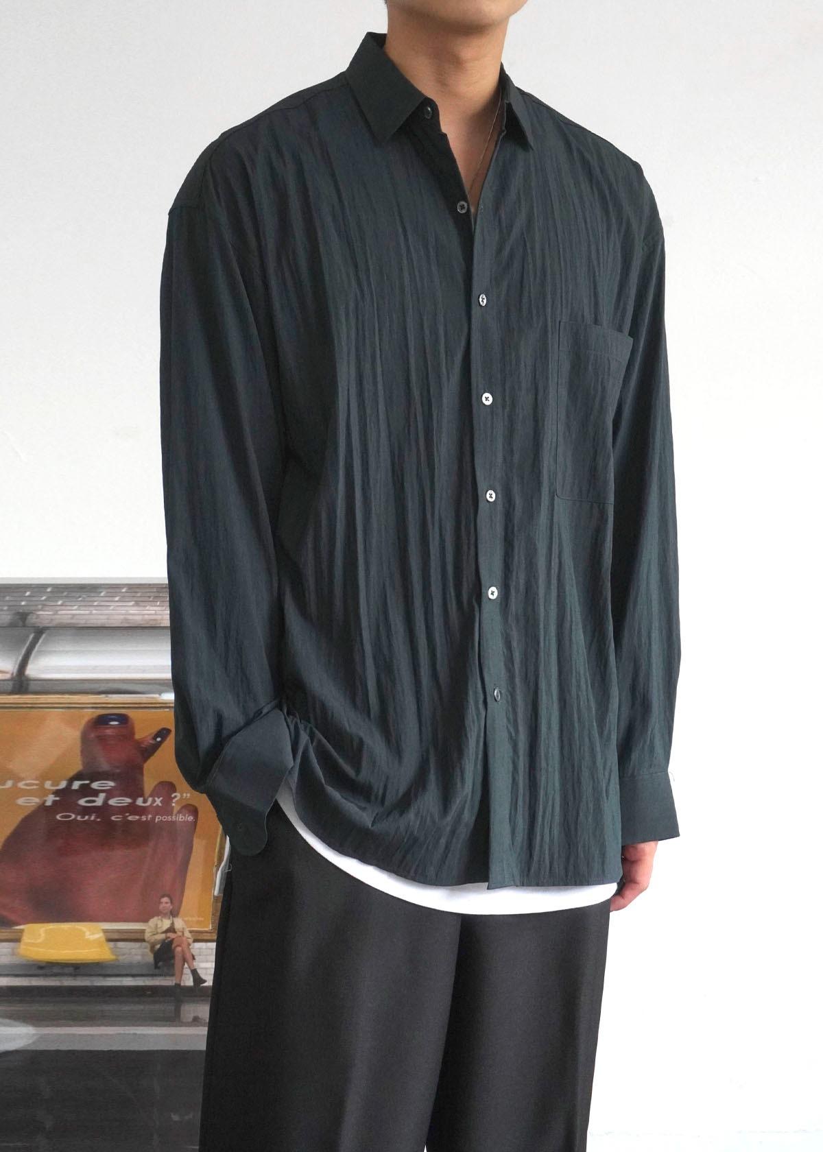 Crease Loose Pocket Shirts (4Color)