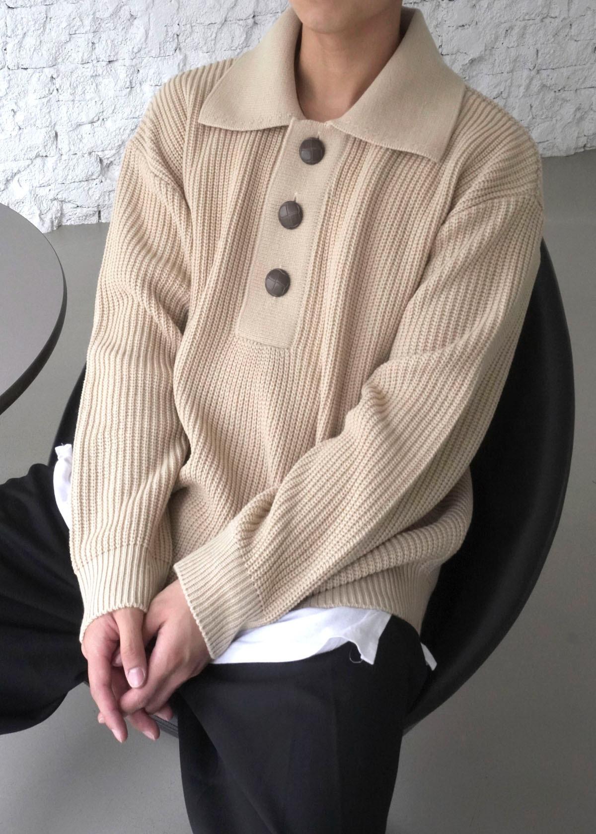 Button Big Collar Knit (2Color)