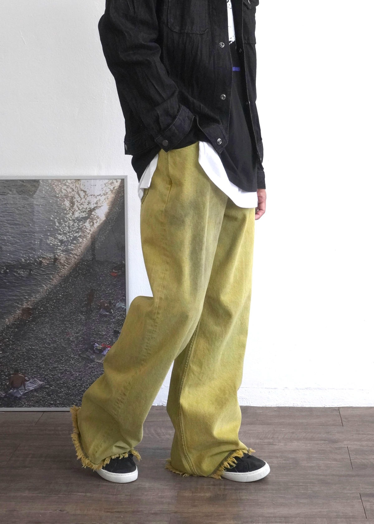Dyeing Washed Cut Wide Pants (Mustard)