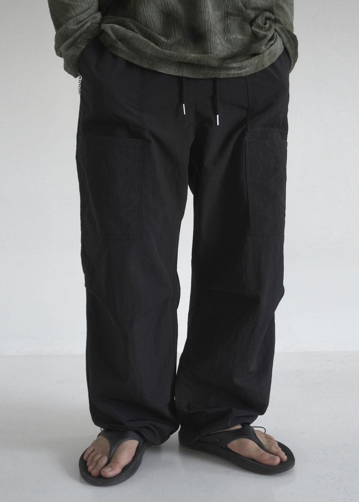 Pocket Wide Nylon Jogger Pants (4Color)