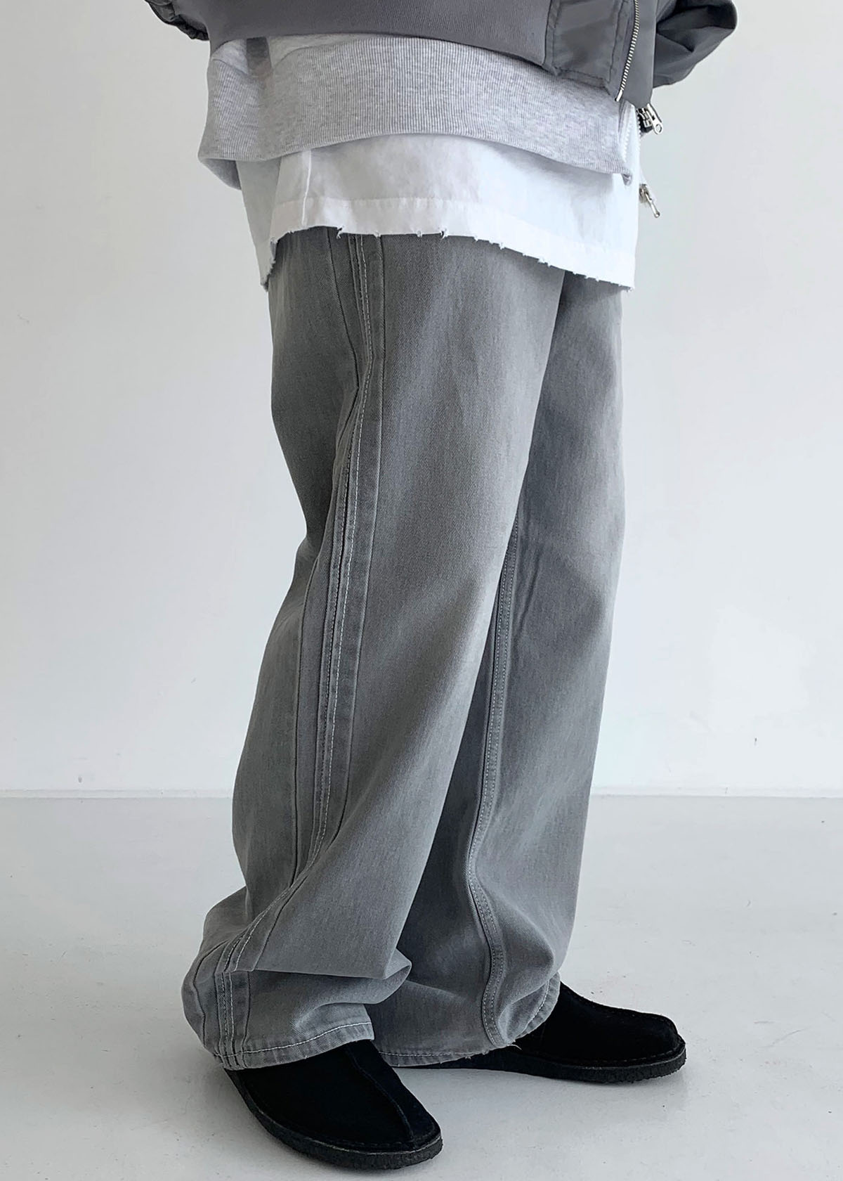 [30% SALE] Washed Straight Track Gray Jeans