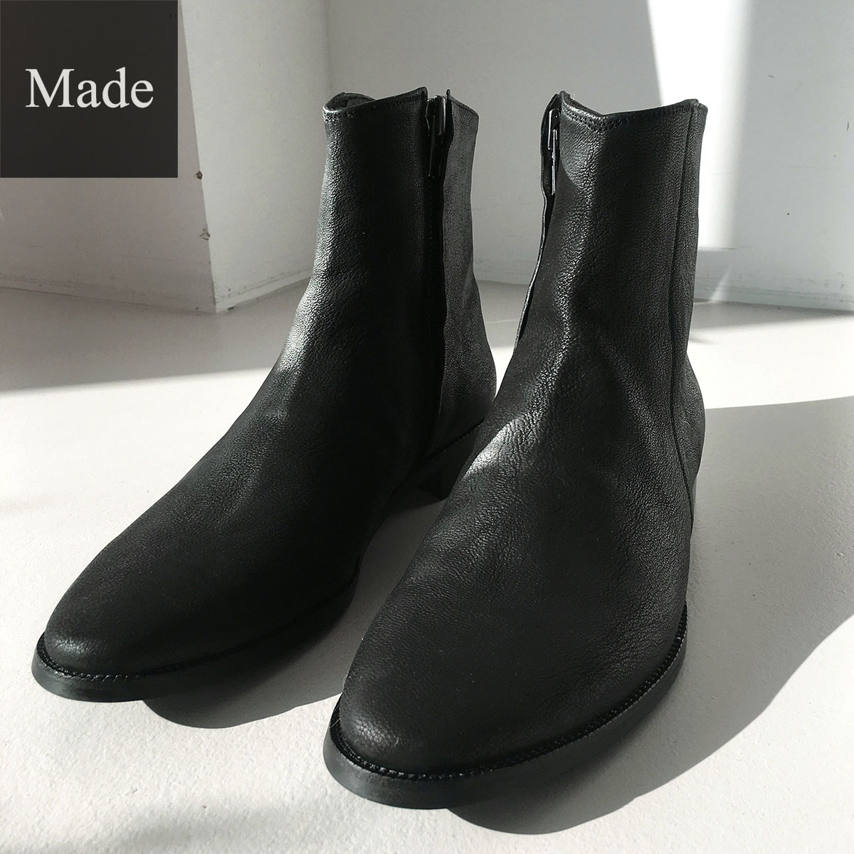 [Hank]Washed Sheep Leather Boots