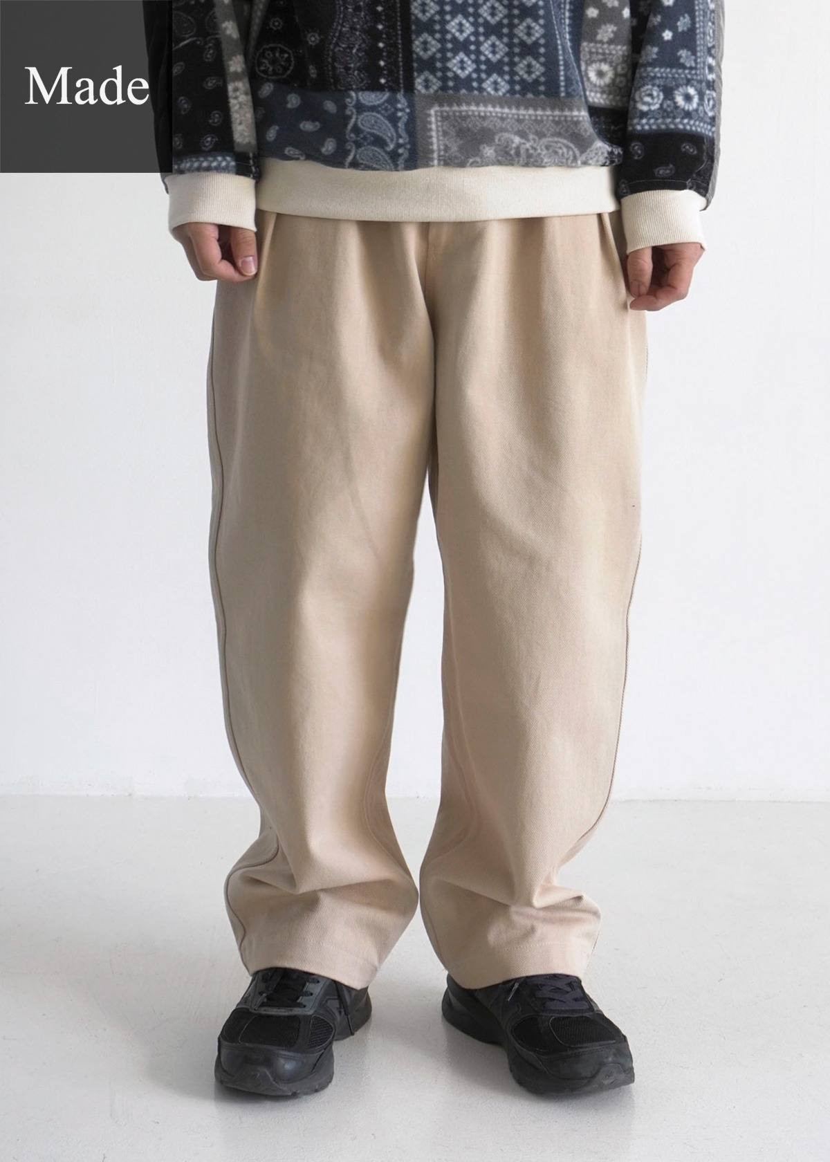 [50% SALE] 20AW Twill Cotton Two Tuck Wide Pants (Sand)
