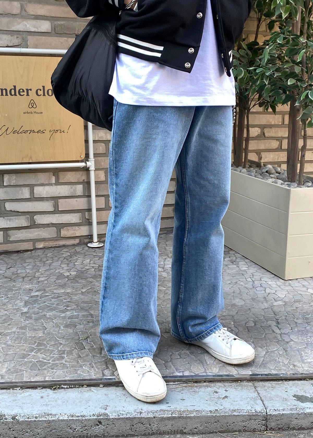 Cool Wide Straight Denim Pants (2Color)