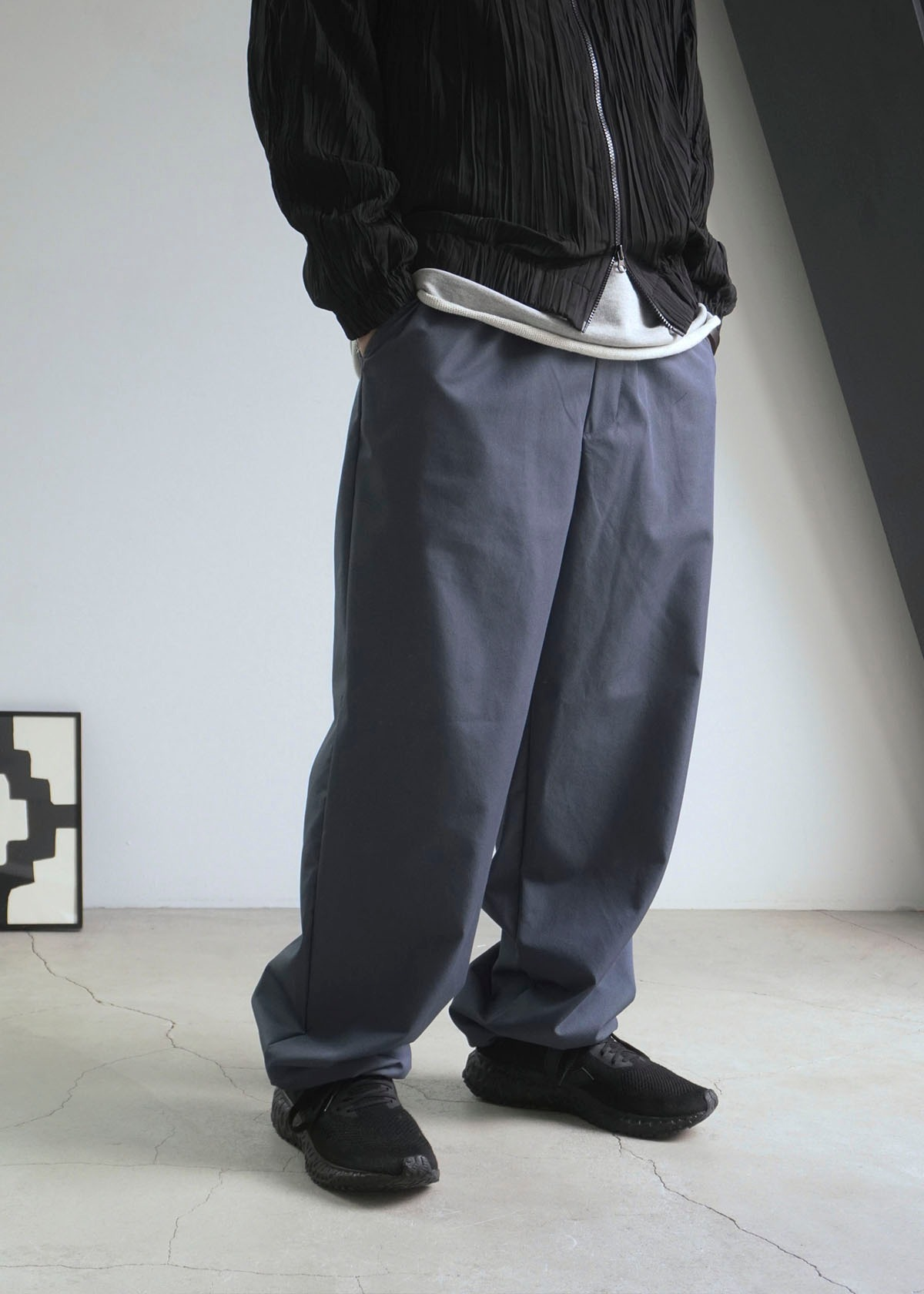 Twill Texture String Wide Pants (2Color)