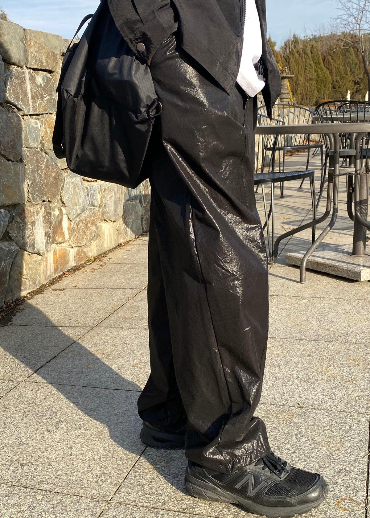 Balloon Wide Coating Pants (black)
