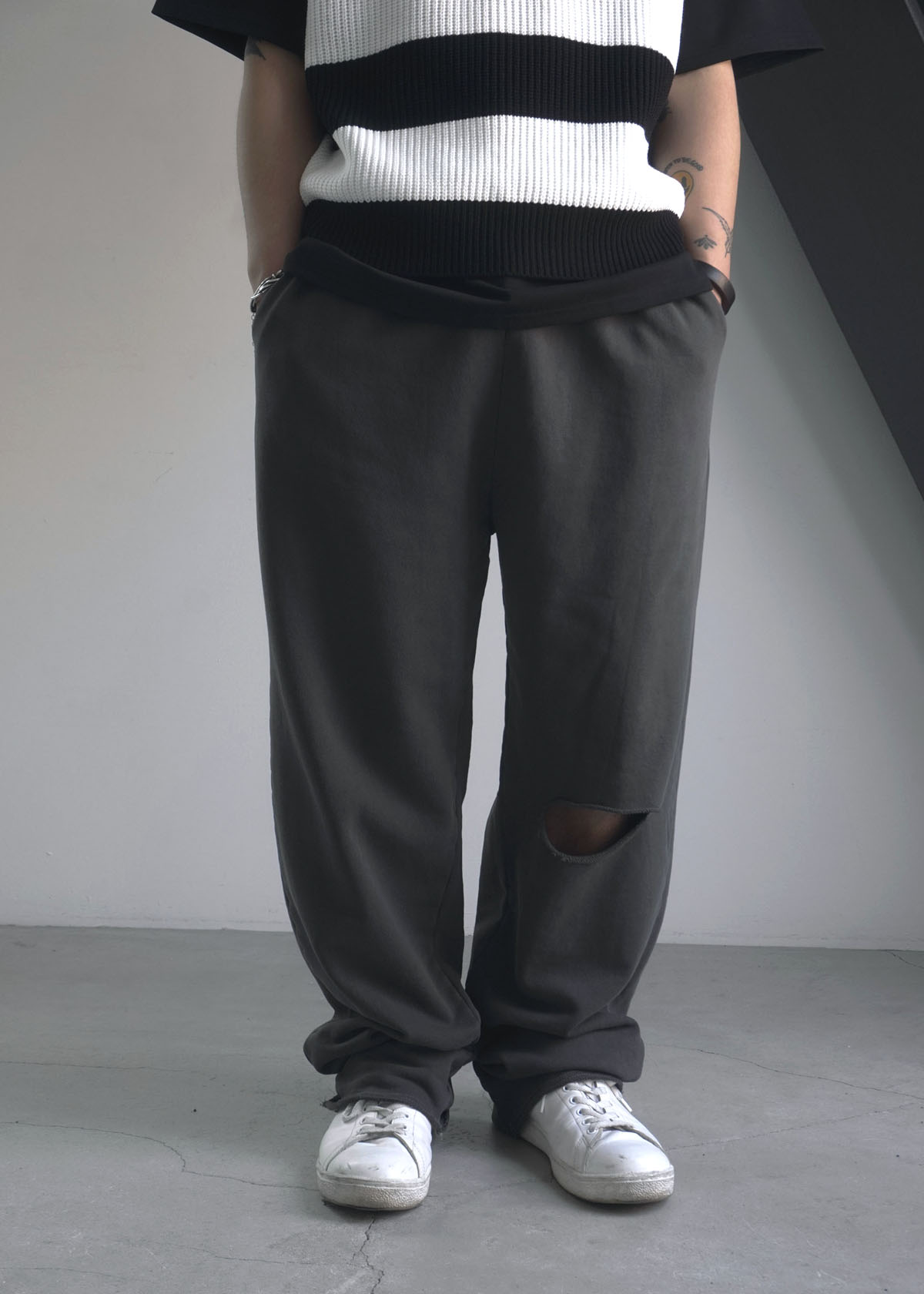 Cutting Dyeing Wide Sweatpants (3Color)