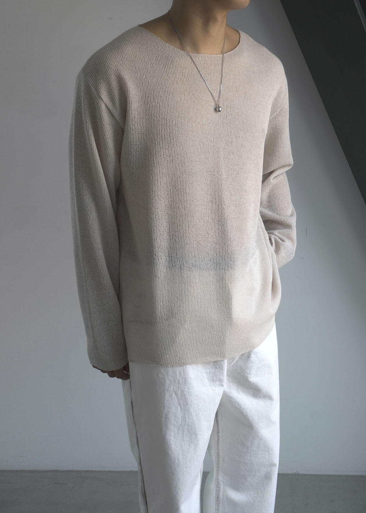 Mesh Loose Cutting Knit Tee (2Color)