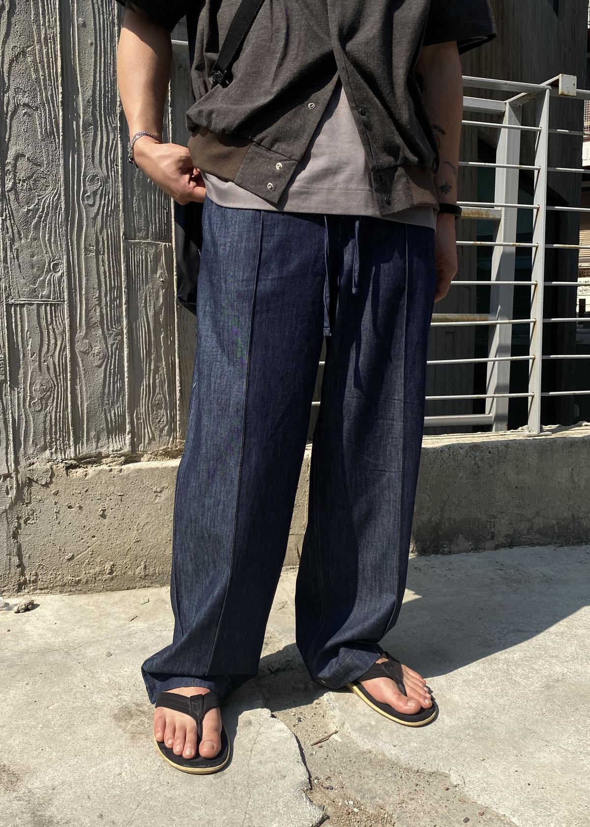 Linen Denim Wide Pants (2Color)