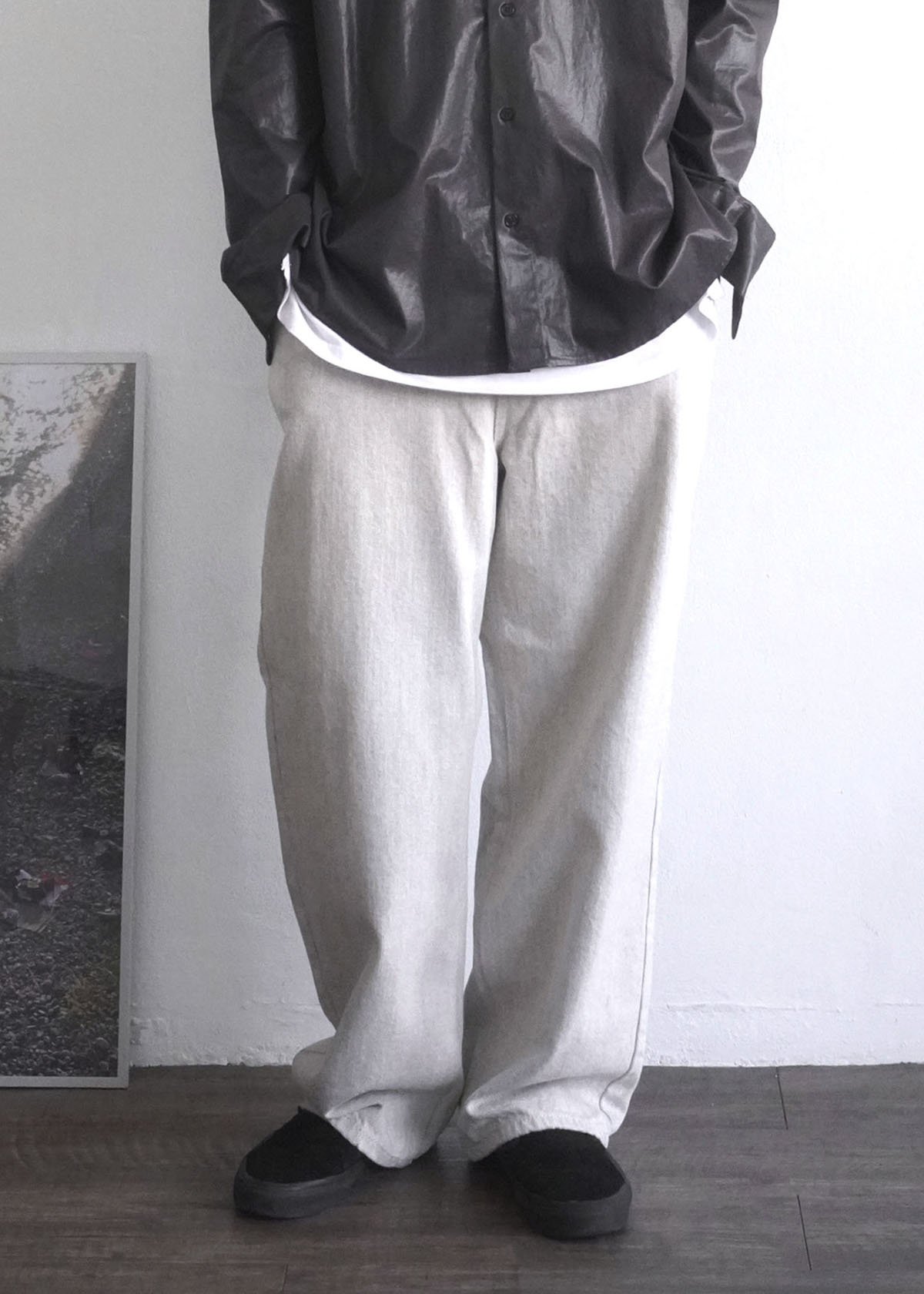 Natural Light Gray Wide Jeans