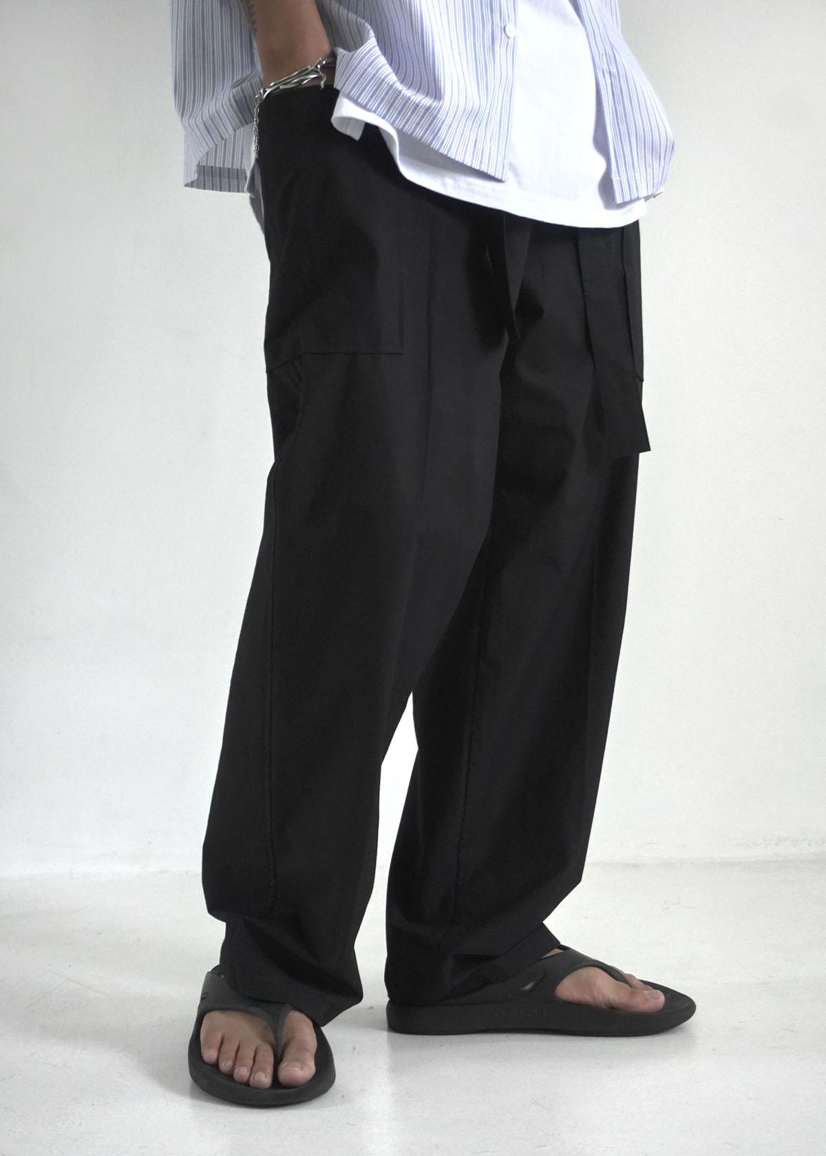 Belted Out pocket Wide Cotton Pants (2Color)