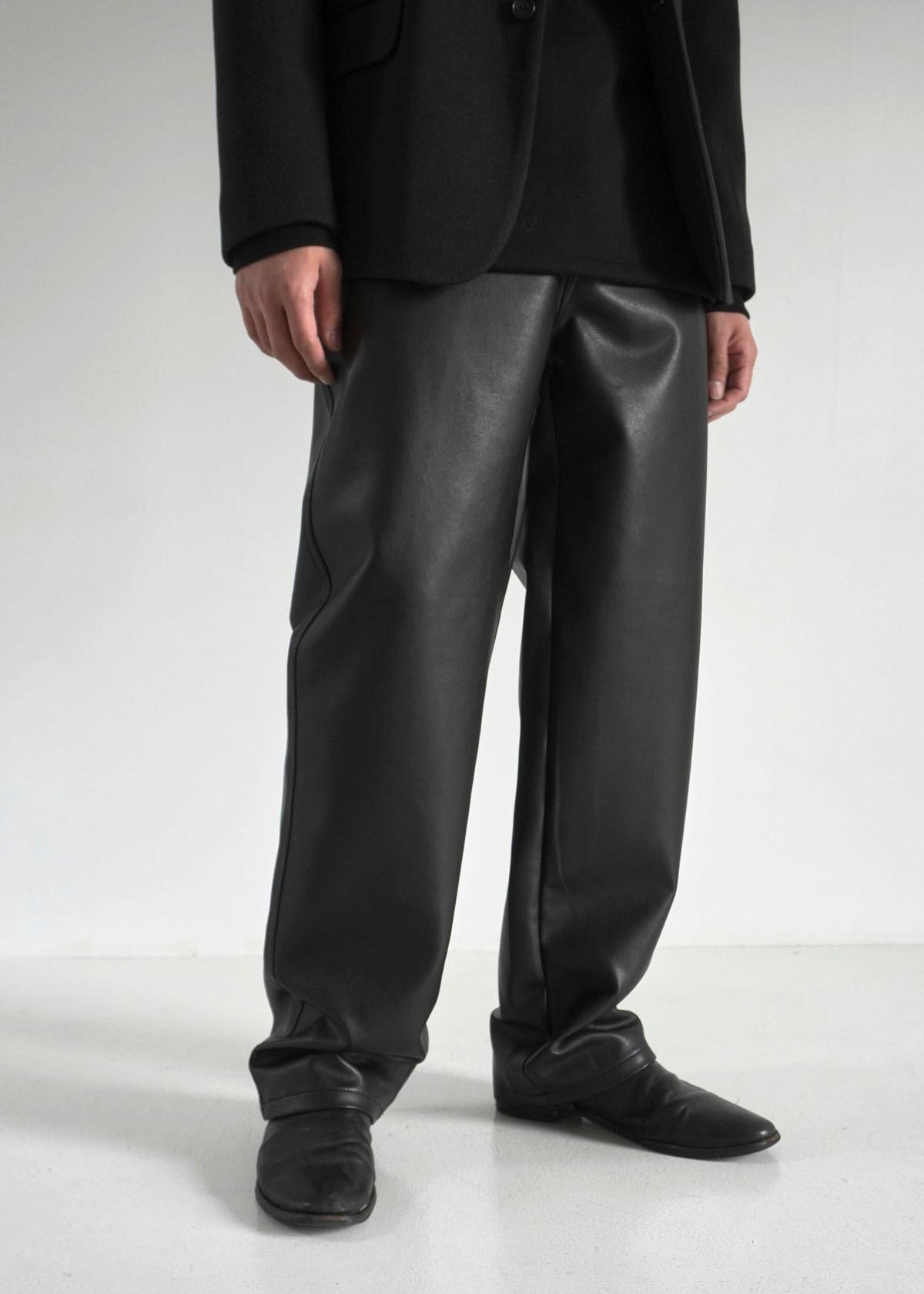 Wide Minimal Leather Pants
