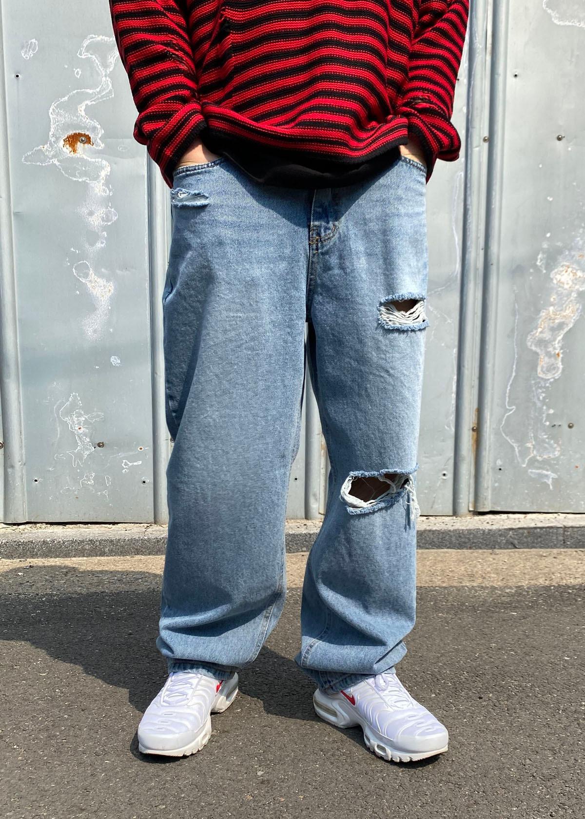 Damage Light blue Wide Denim Pants