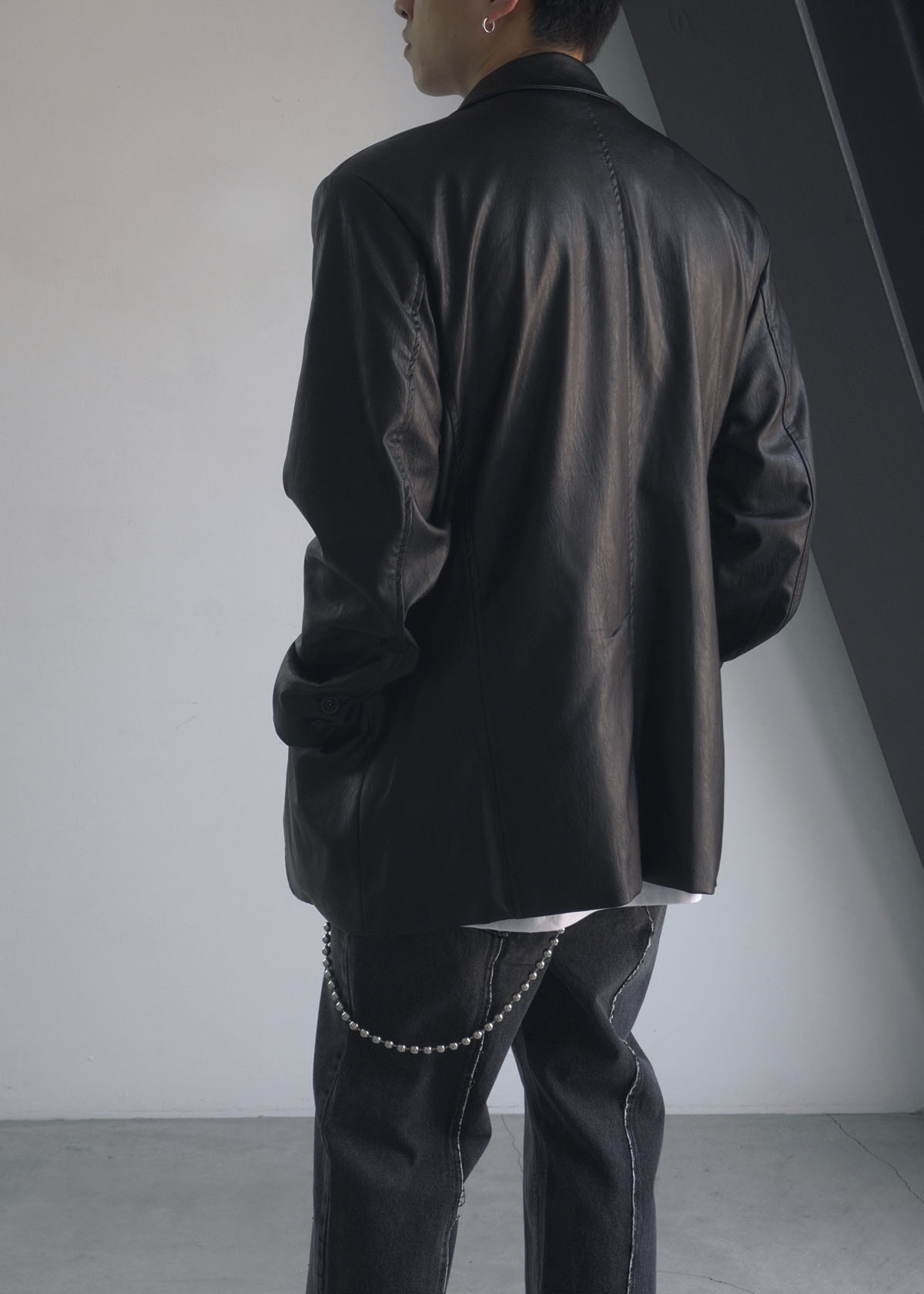 Bulky Half Leather Jacket (2Color)
