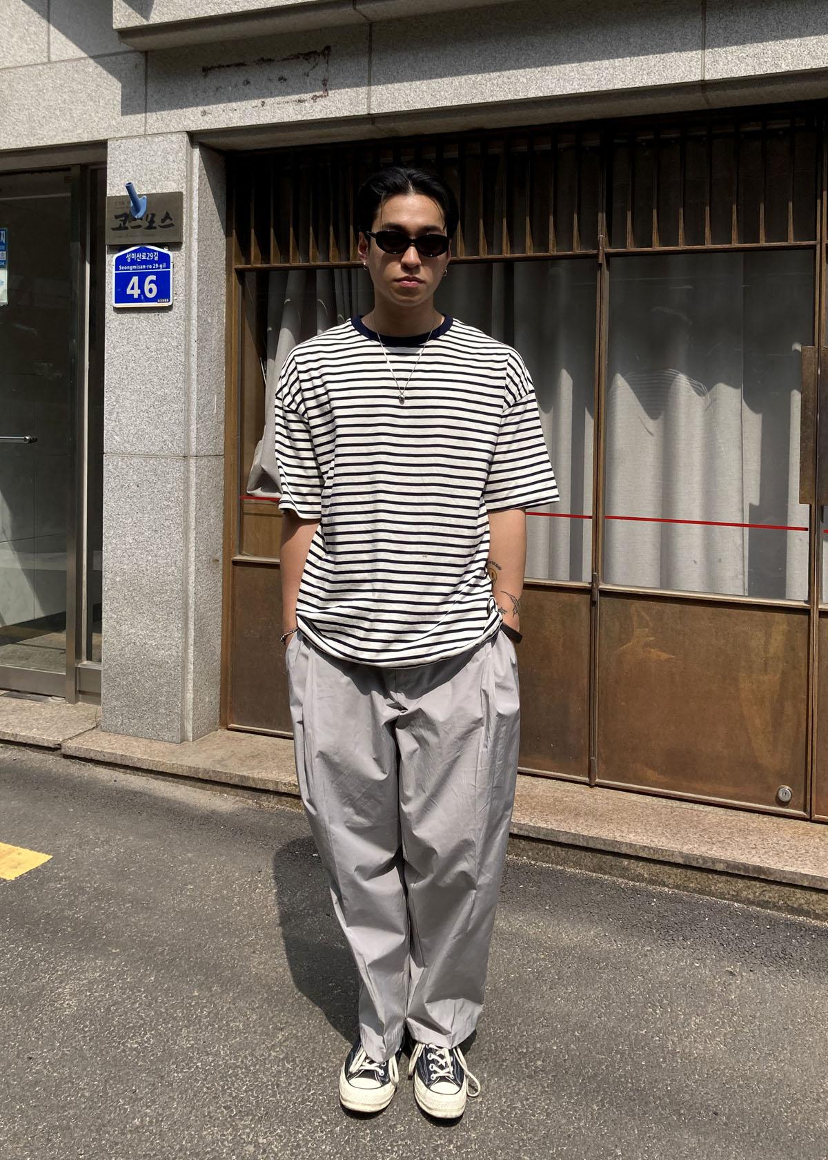 Loose Stripe String T-shirts (2Color)