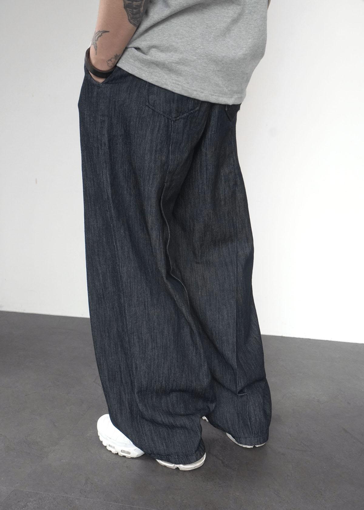 Back Pintuck Linen Denim Pants